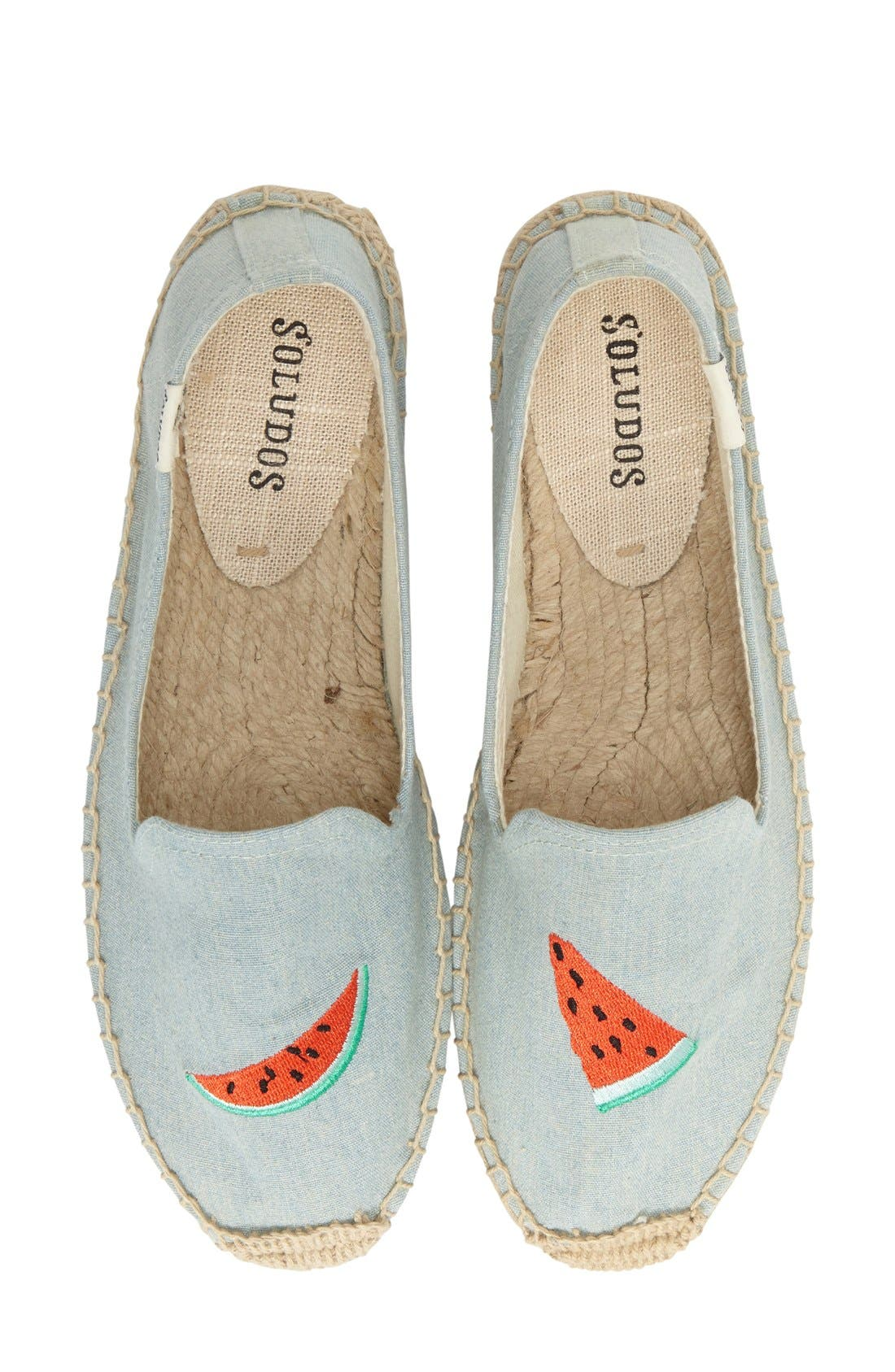 SOLUDOS,                             'Watermelon' Embroidered Flat,                             Alternate thumbnail 5, color,                             420