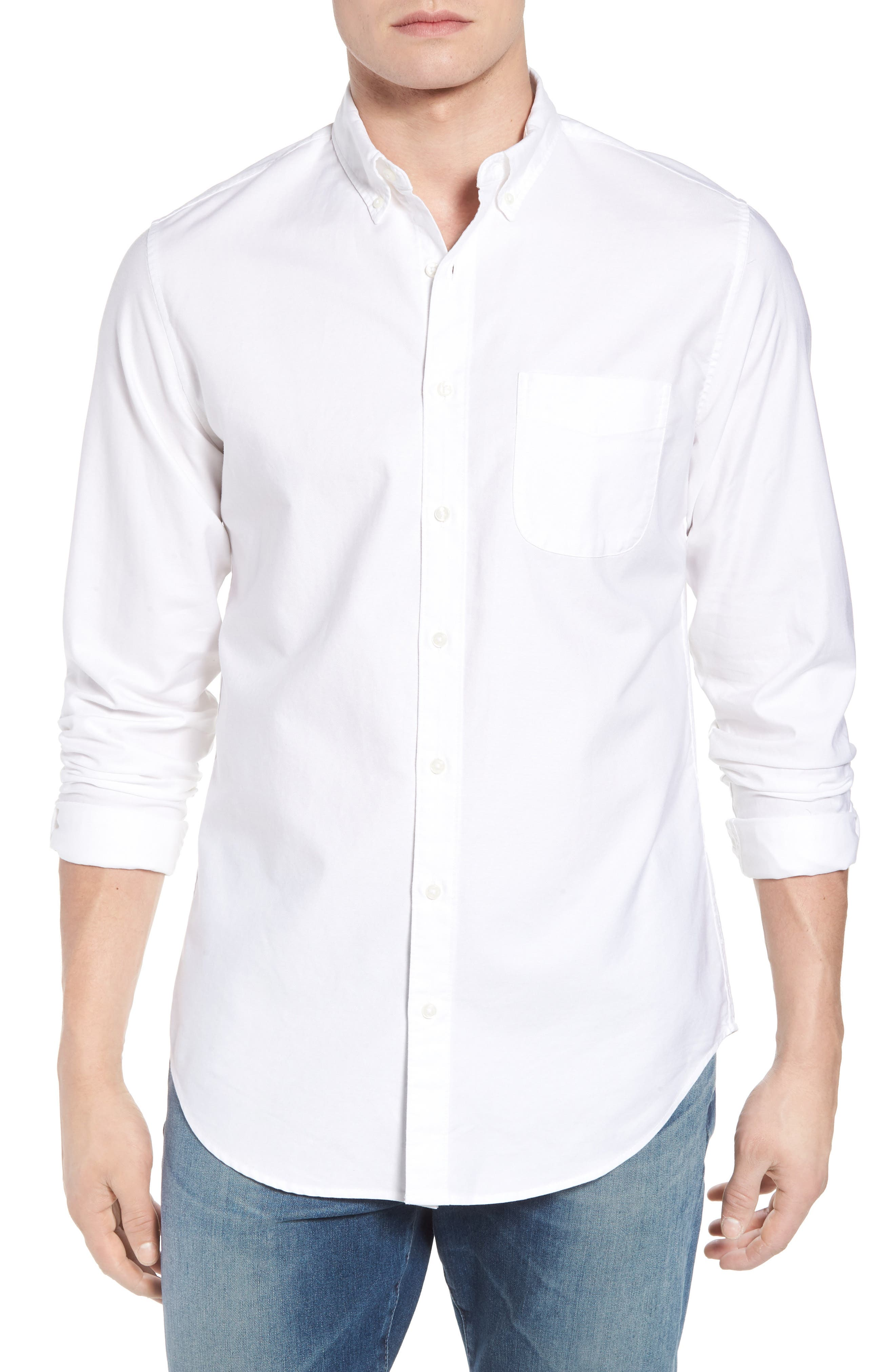 Classic Fit Stretch Pima Cotton Oxford Shirt,                         Main,                         color, 104