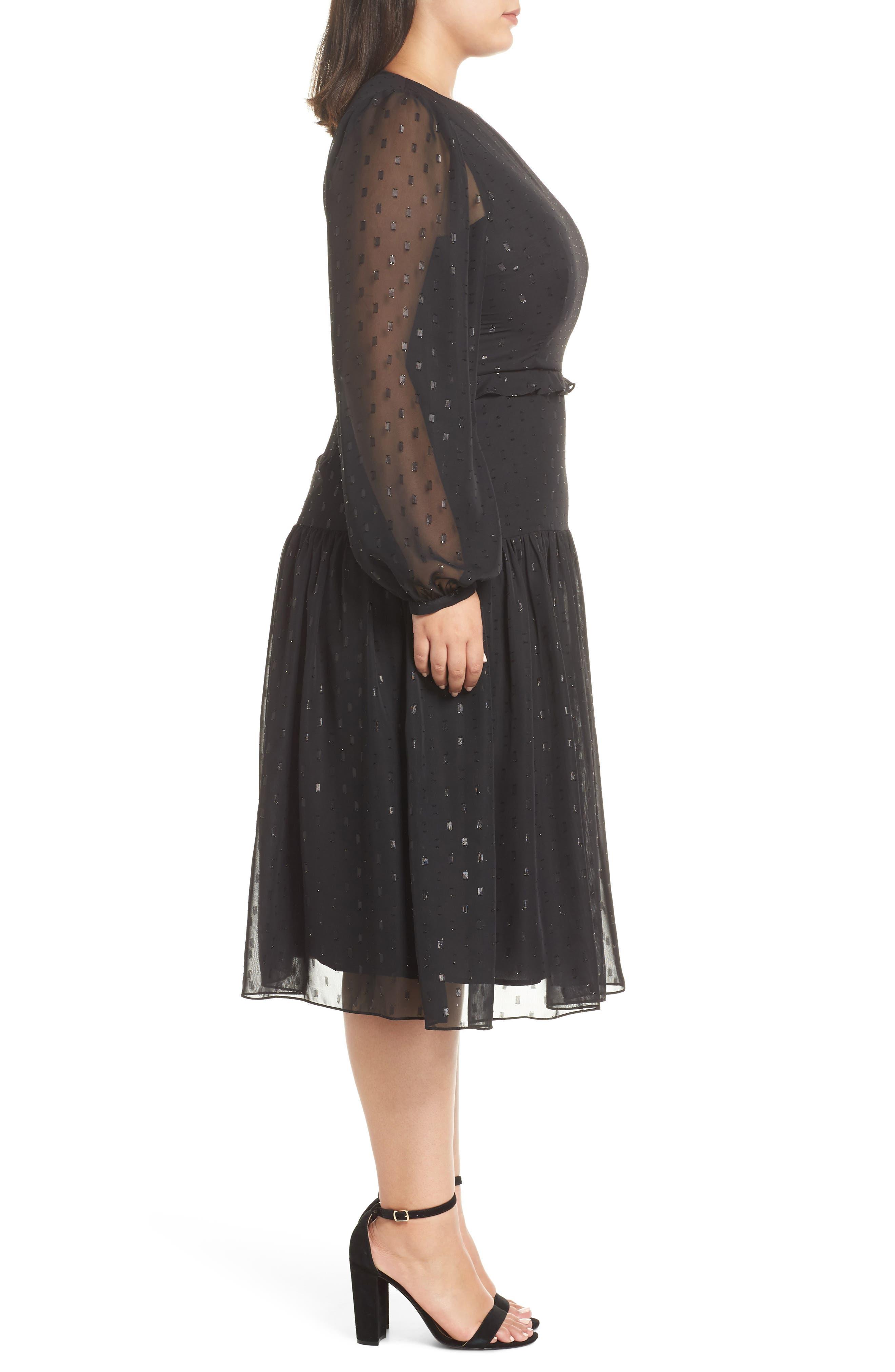 Fil Coupé Midi Dress,                             Alternate thumbnail 10, color,                             BLACK