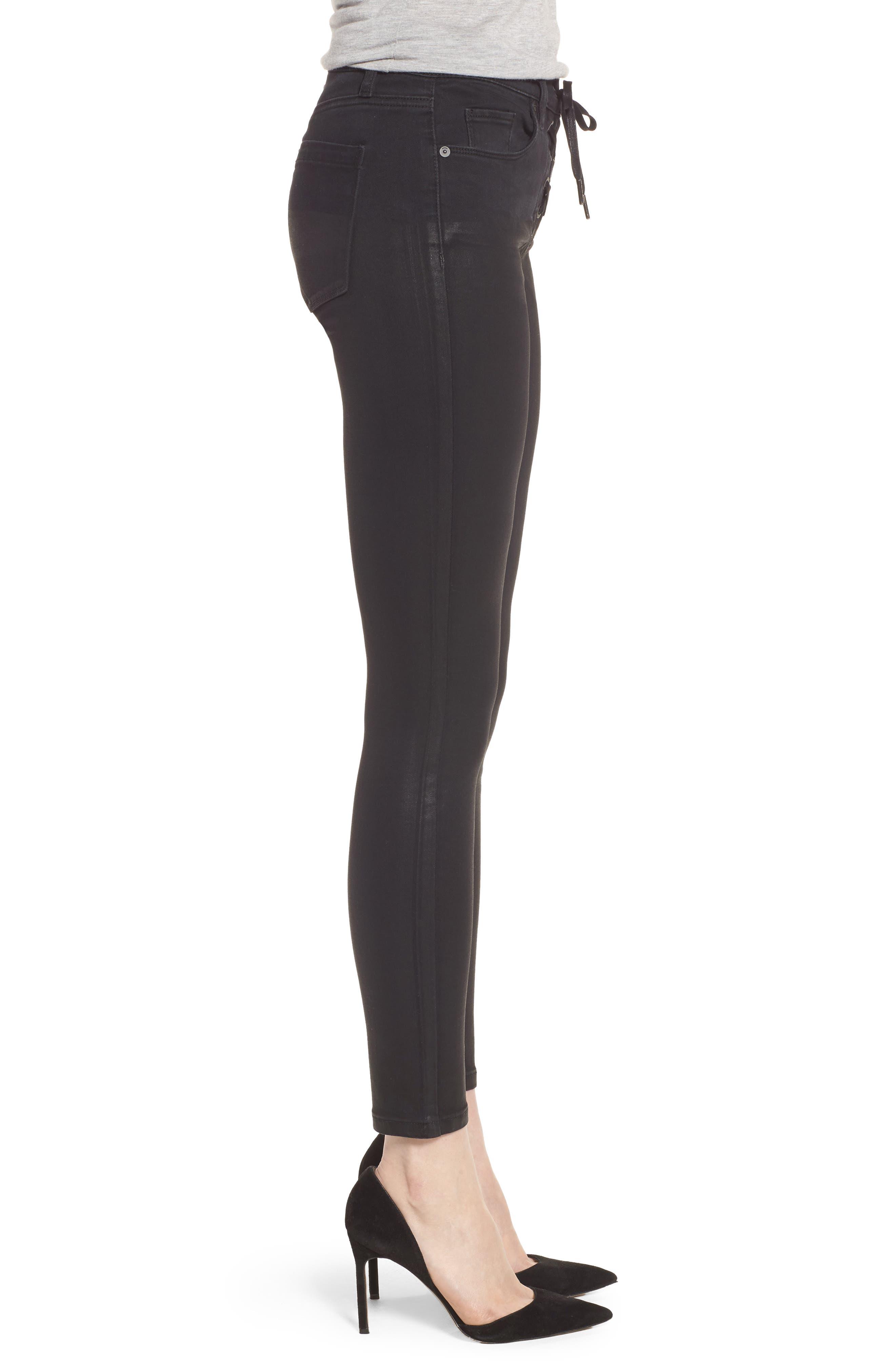 Black Jack Lace-Up Skinny Jeans,                             Alternate thumbnail 3, color,
