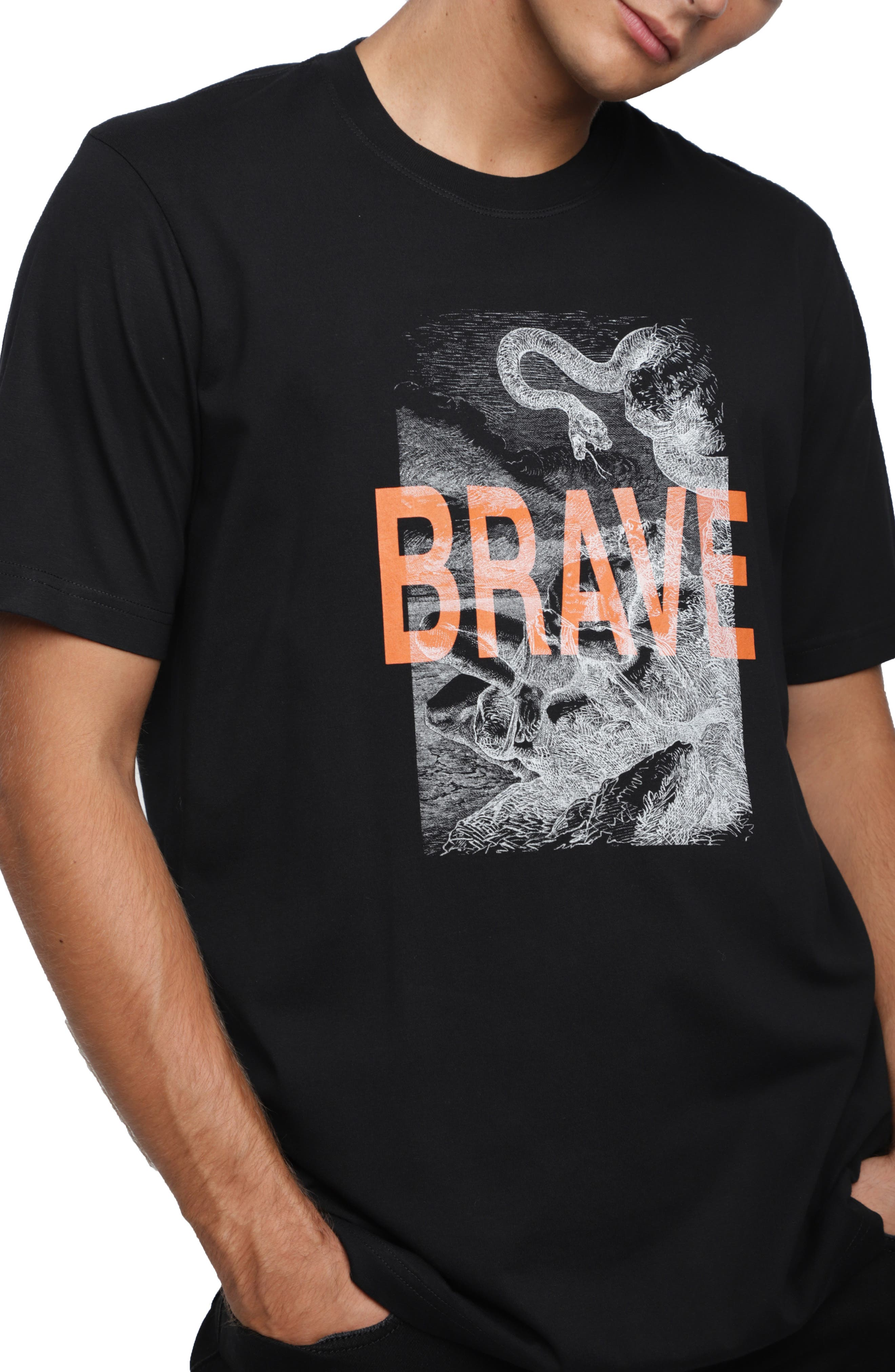 T-JUST-XZ Short Sleeve T-shirt,                             Alternate thumbnail 3, color,                             BLACK