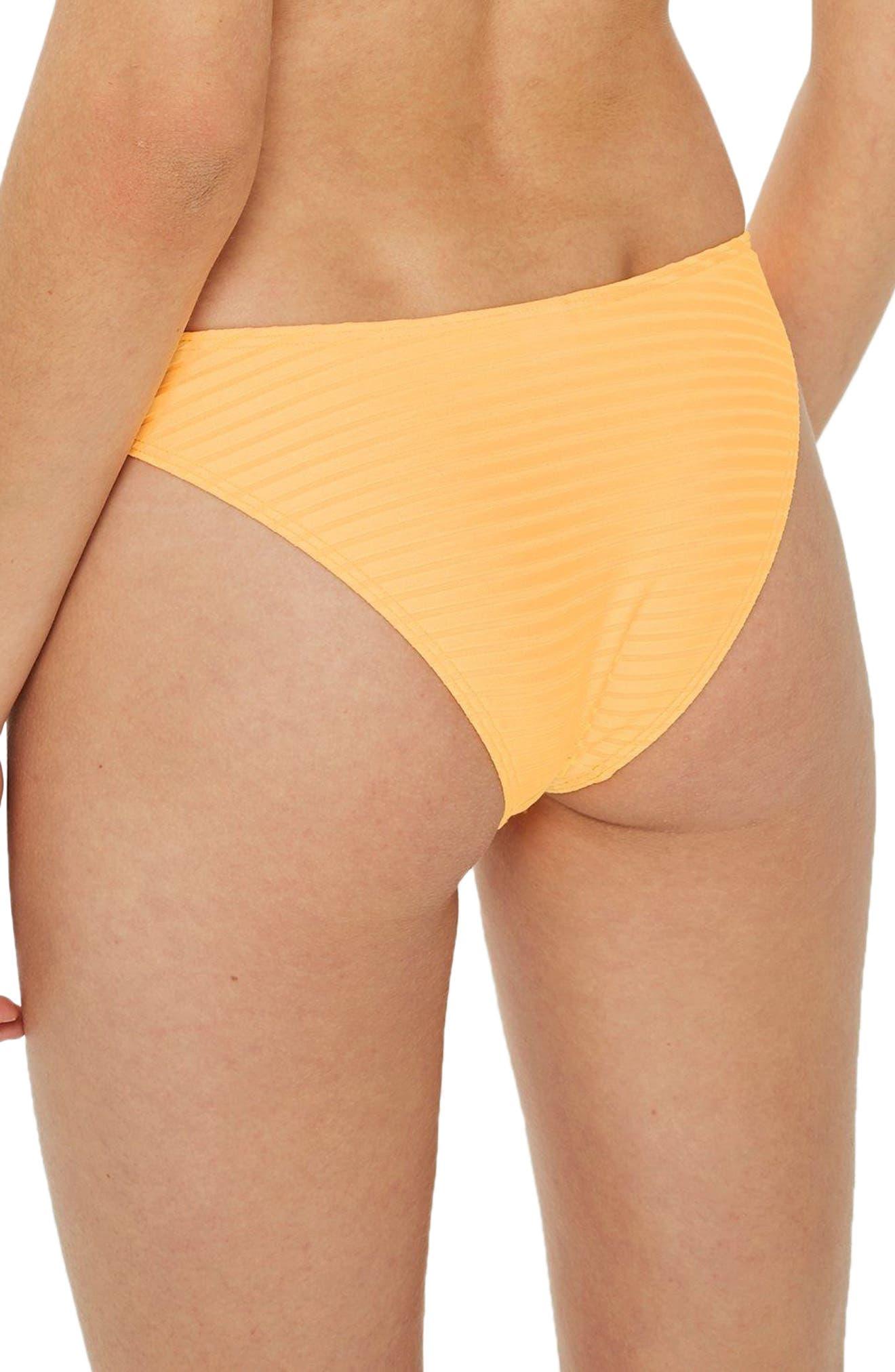 Wide Ribbed High Leg Bikini Bottoms,                             Alternate thumbnail 6, color,