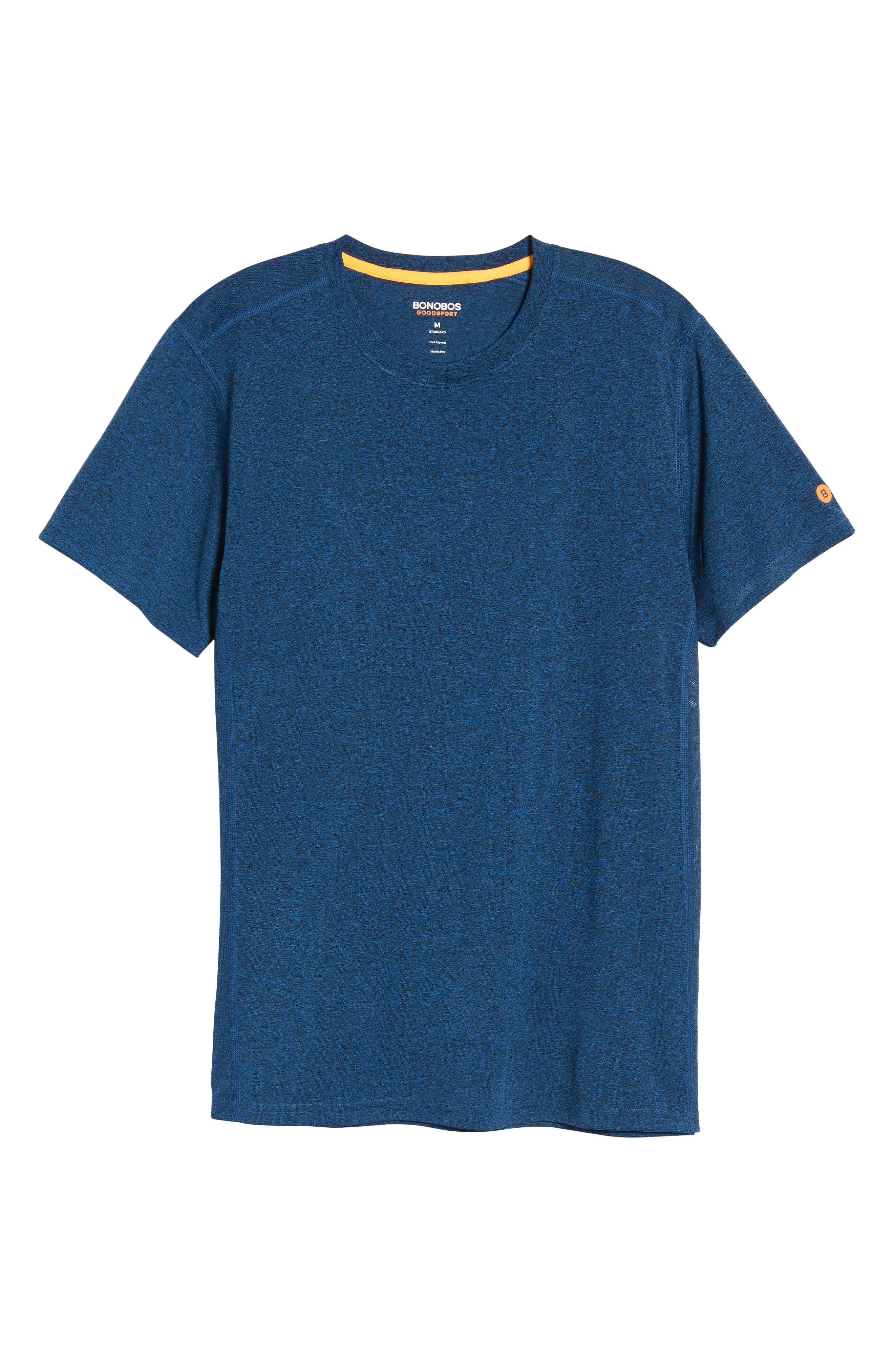 Goodsport Mesh Panel T-Shirt,                             Alternate thumbnail 6, color,                             LAPIS BLUE/ BLACK HEATHER