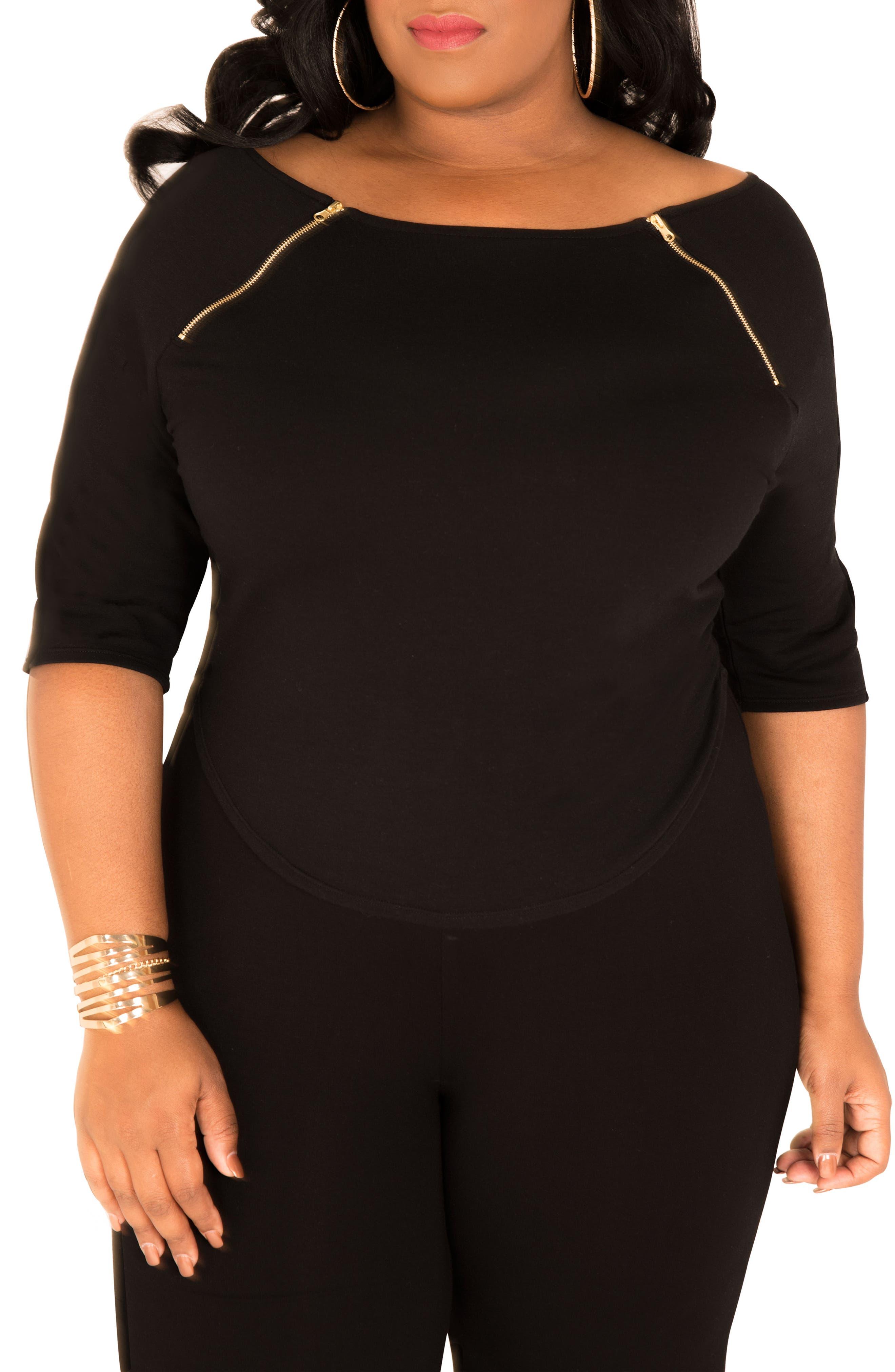 Morgan Zip Shoulder Top,                         Main,                         color, BLACK