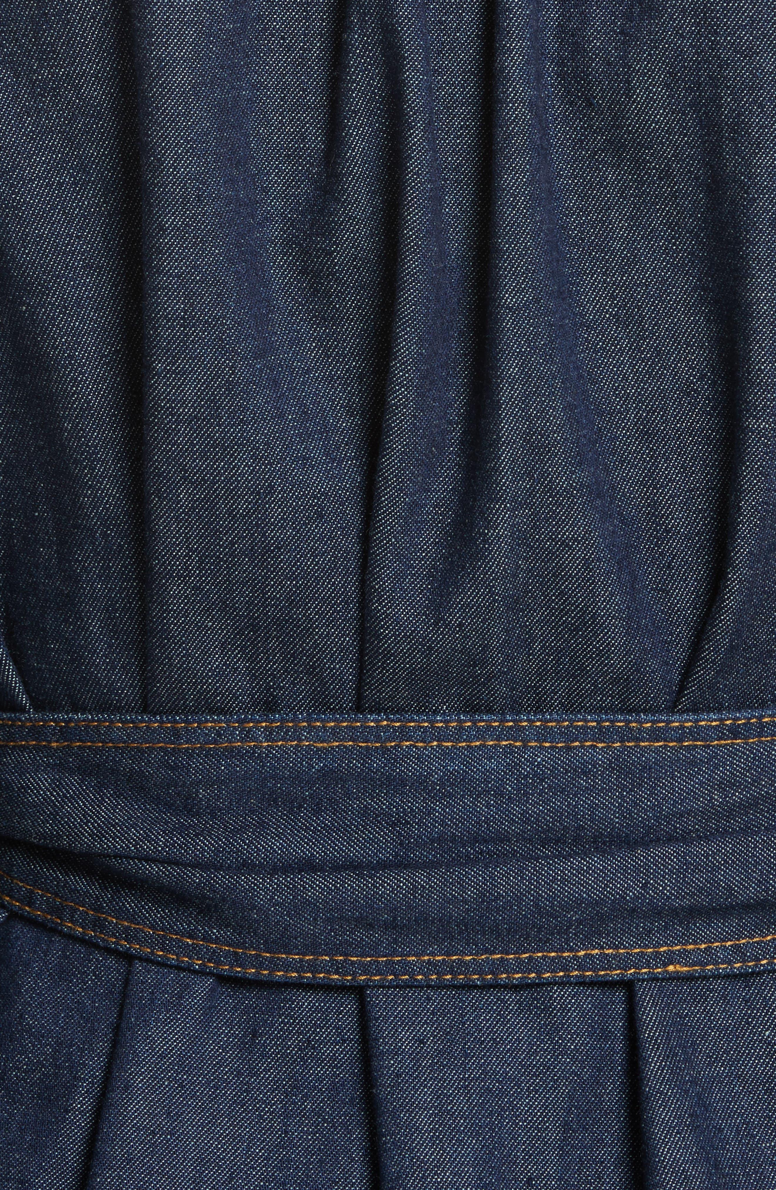 Belted Denim Dress,                             Alternate thumbnail 5, color,                             409