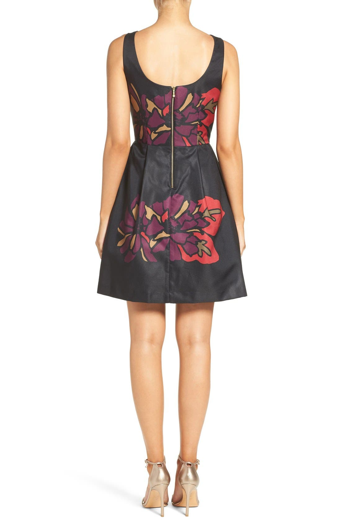 Placed Floral Fit & Flare Dress,                             Alternate thumbnail 3, color,                             011