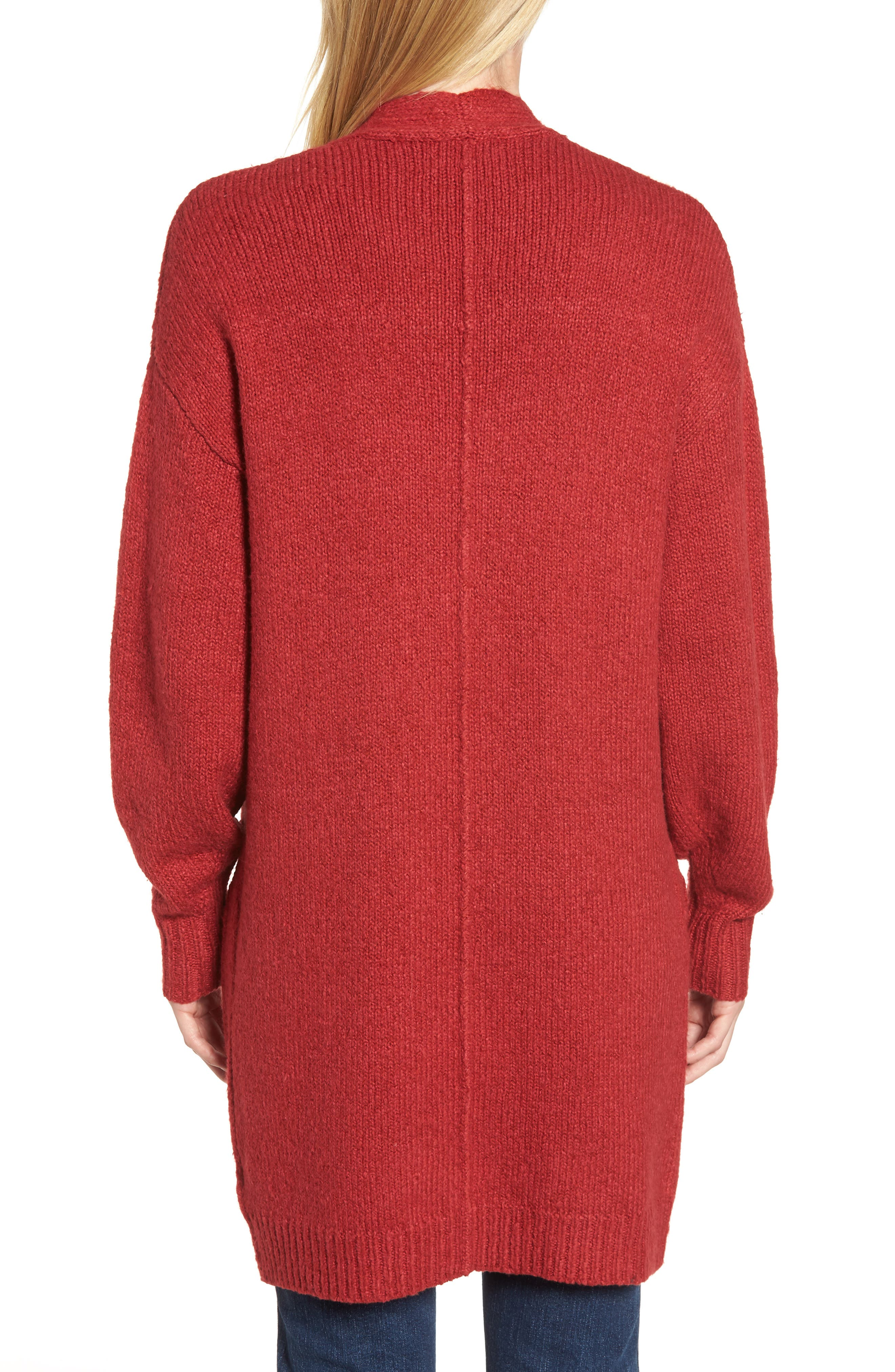 Cotton Blend Cardigan,                             Alternate thumbnail 2, color,                             RED