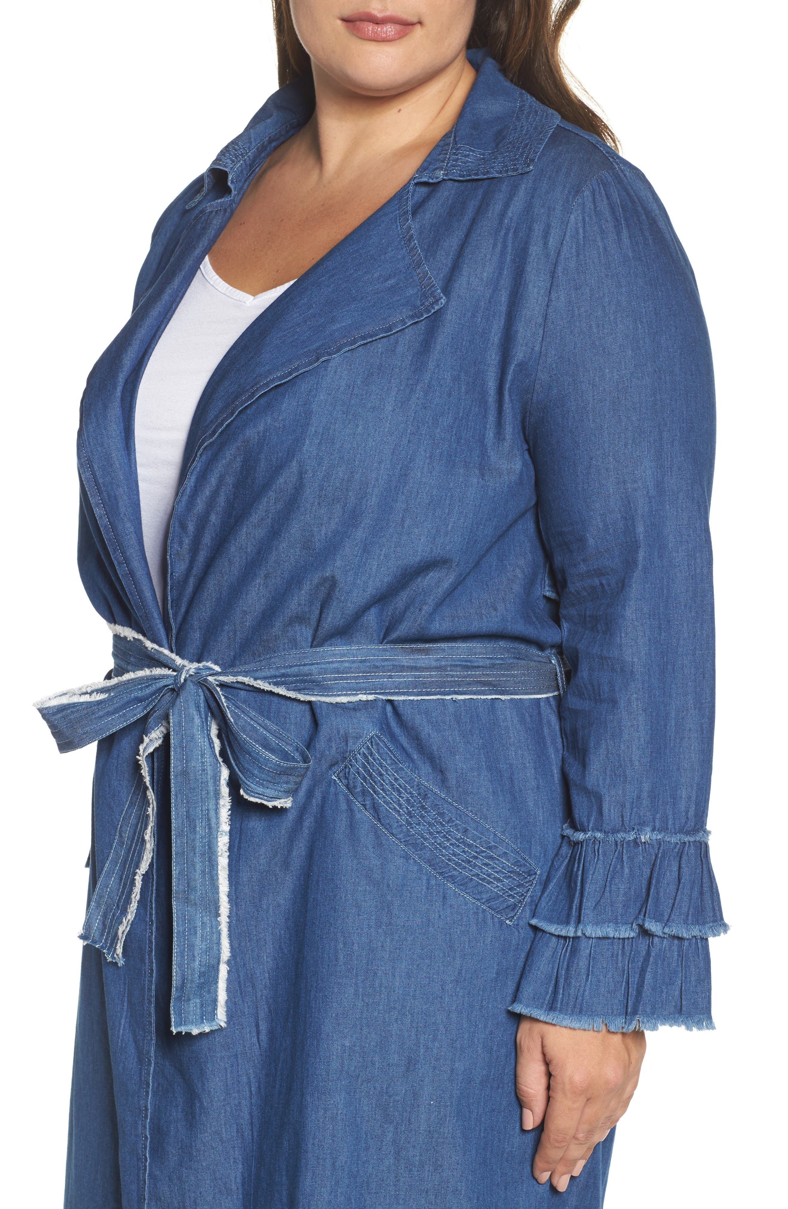 Chambray Trench Coat,                             Alternate thumbnail 4, color,                             400