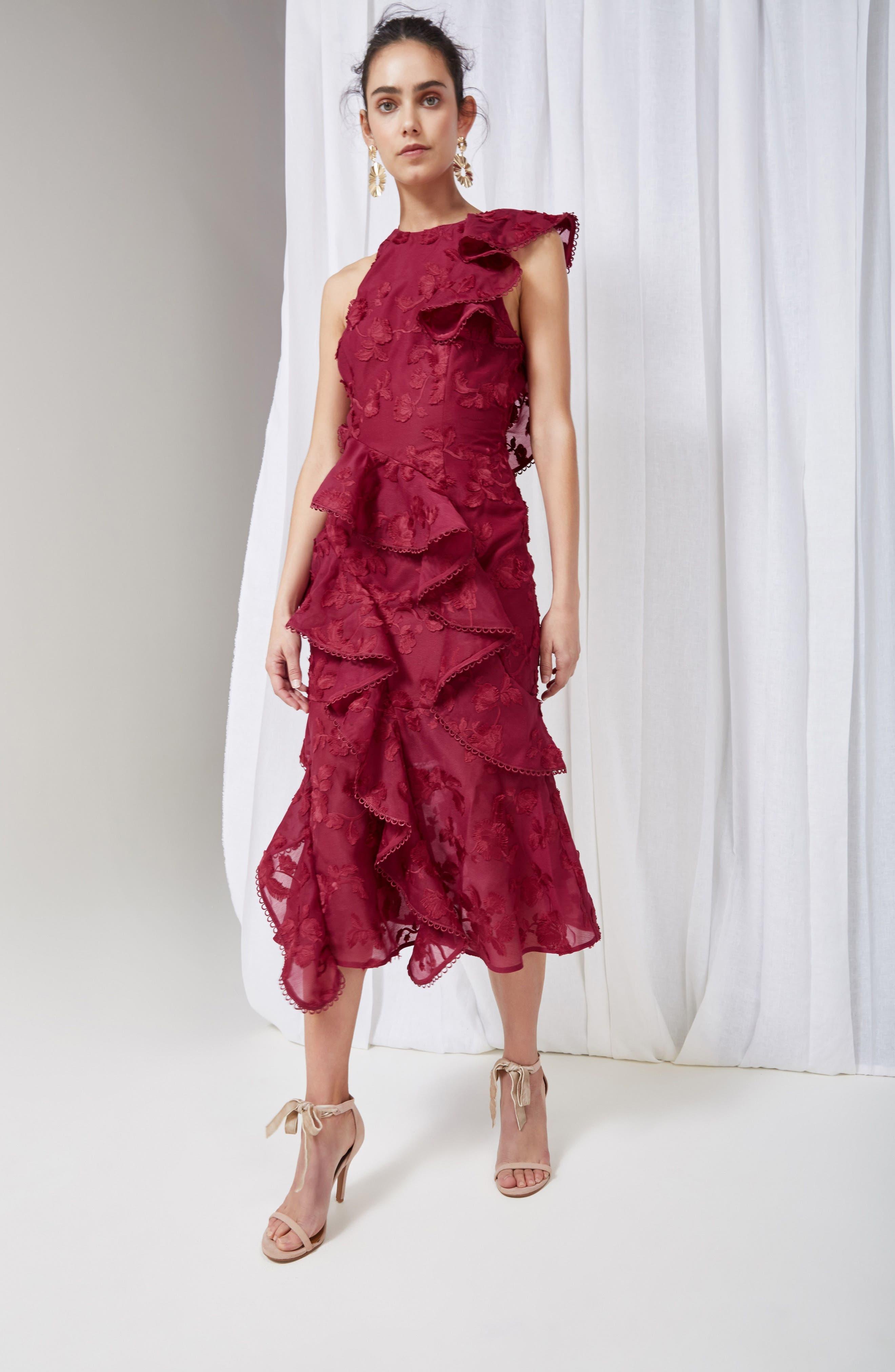 Shine Ruffle Lace Tea Length Dress,                             Alternate thumbnail 7, color,                             621