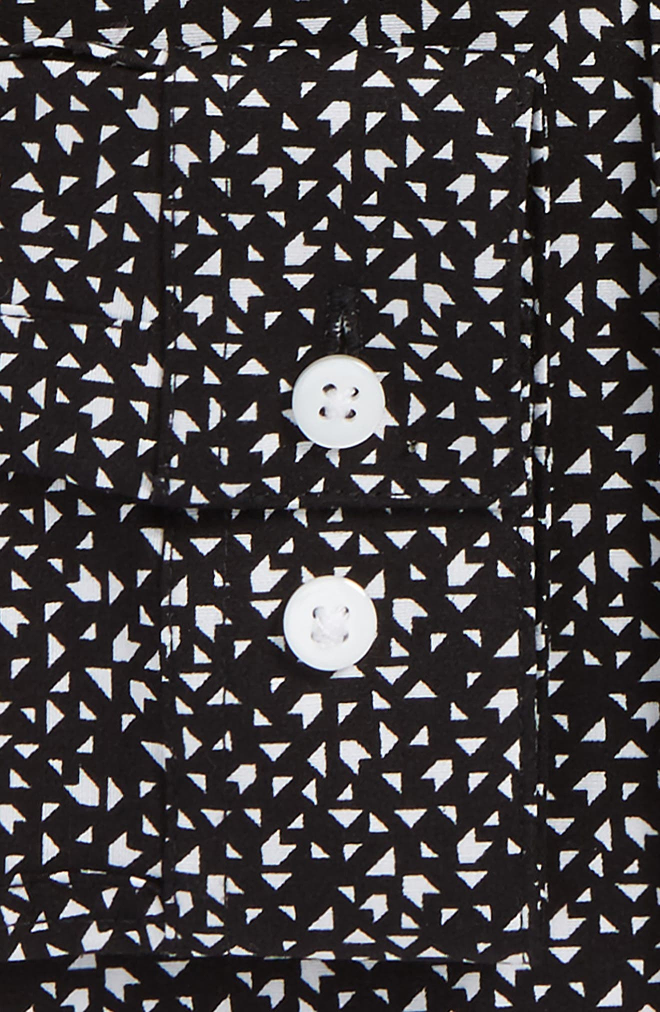 Skinny Fit Geo Print Stretch Woven Shirt,                             Alternate thumbnail 5, color,                             002