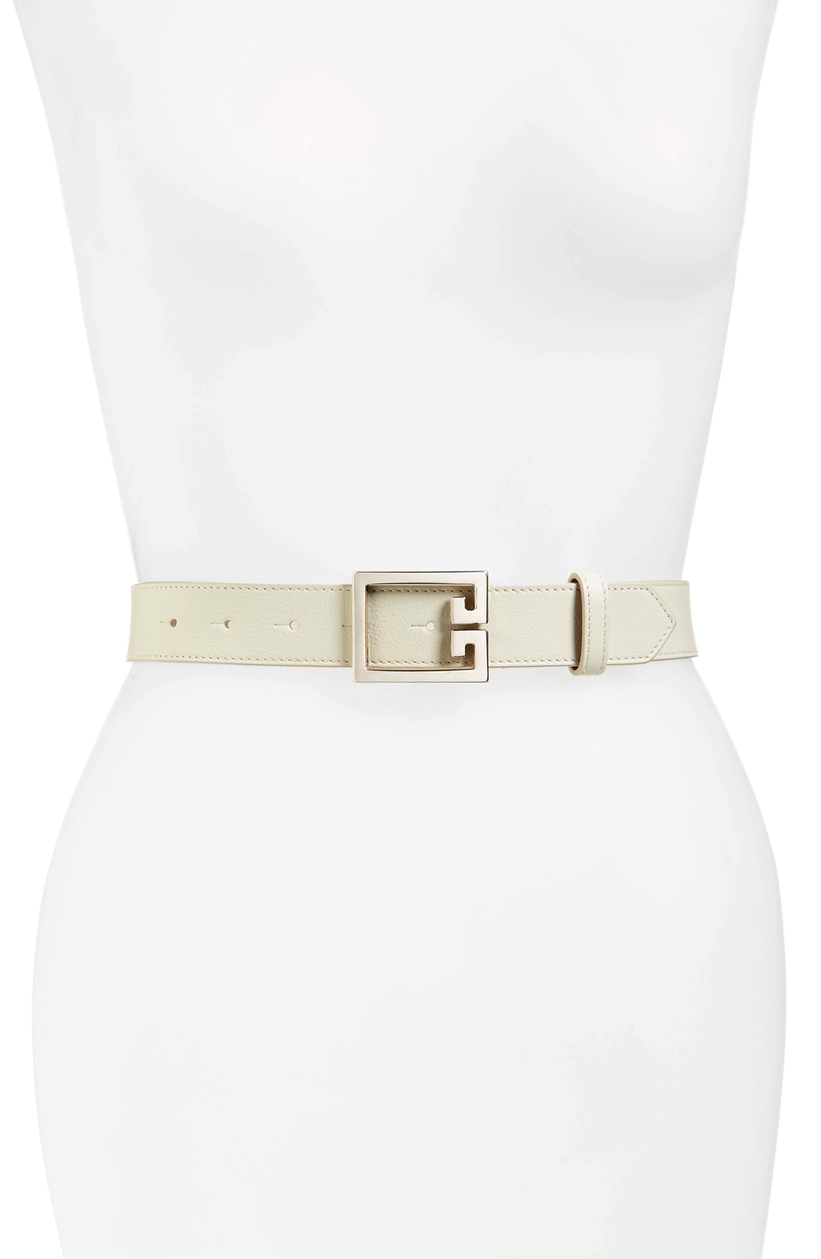 2G Leather Belt,                             Main thumbnail 1, color,                             WHITE