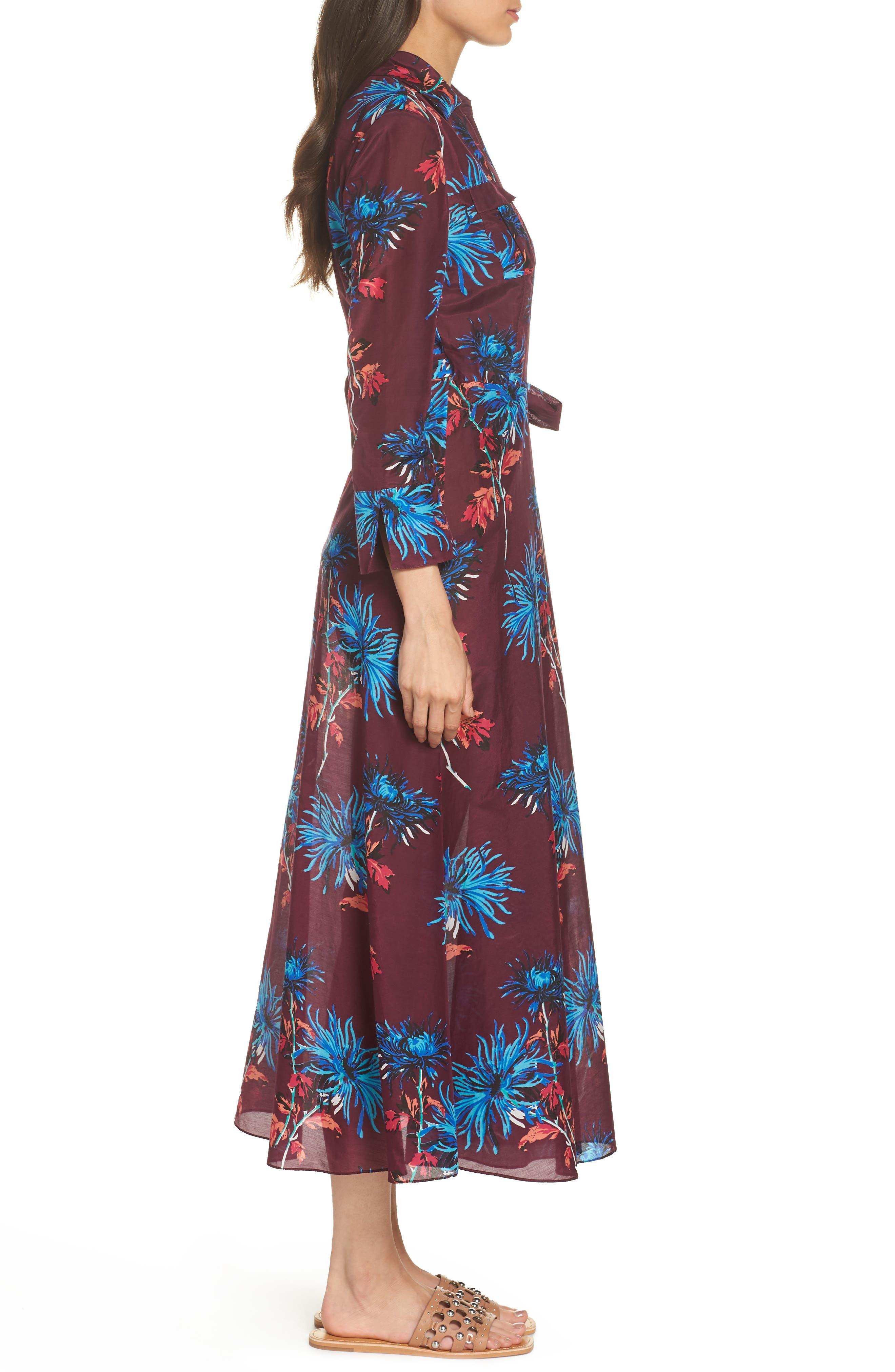 Long Cover-Up Wrap Dress,                             Alternate thumbnail 3, color,                             BURGUNDY