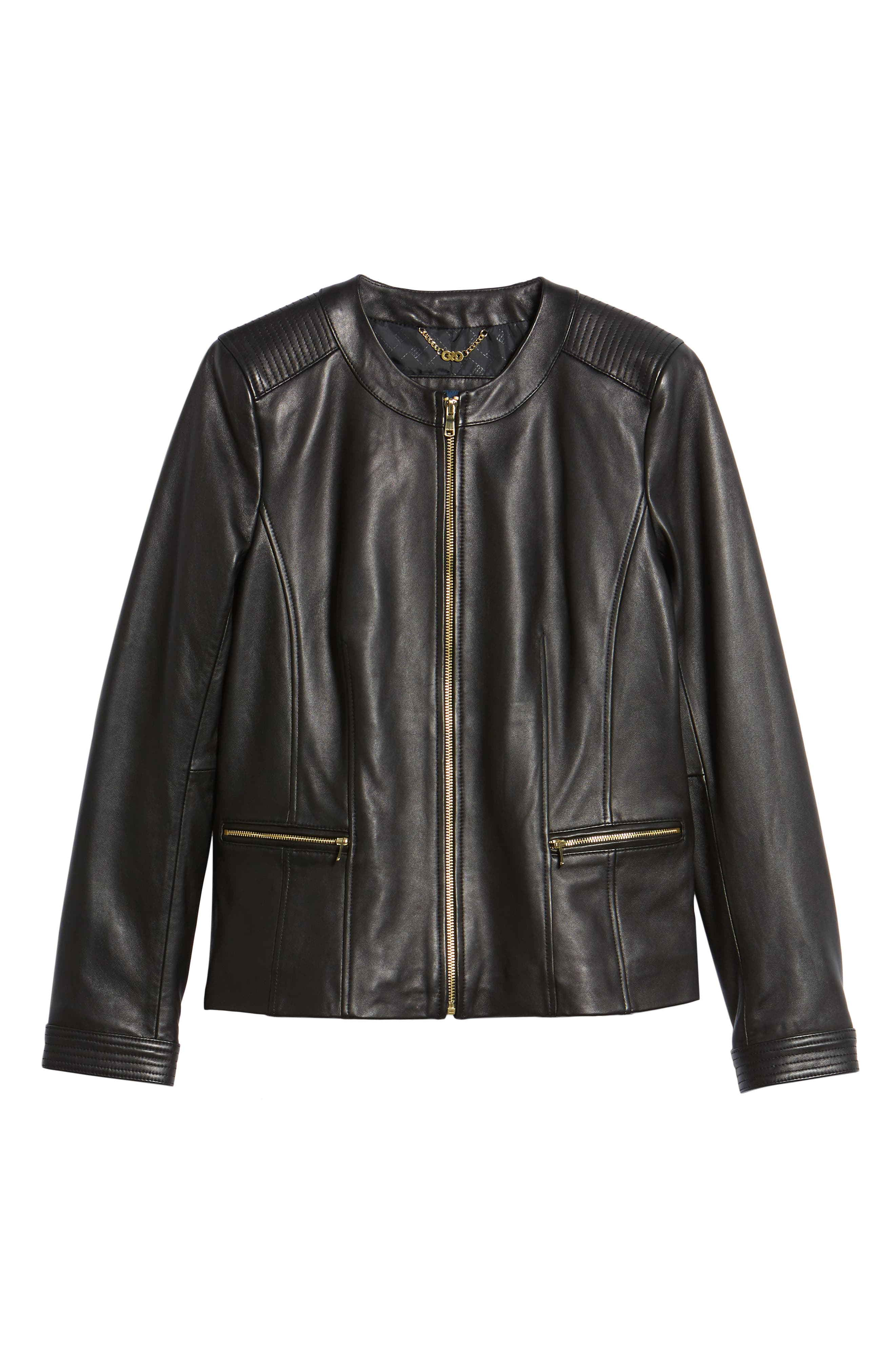 Smooth Lambskin Leather Jacket,                             Alternate thumbnail 5, color,                             002