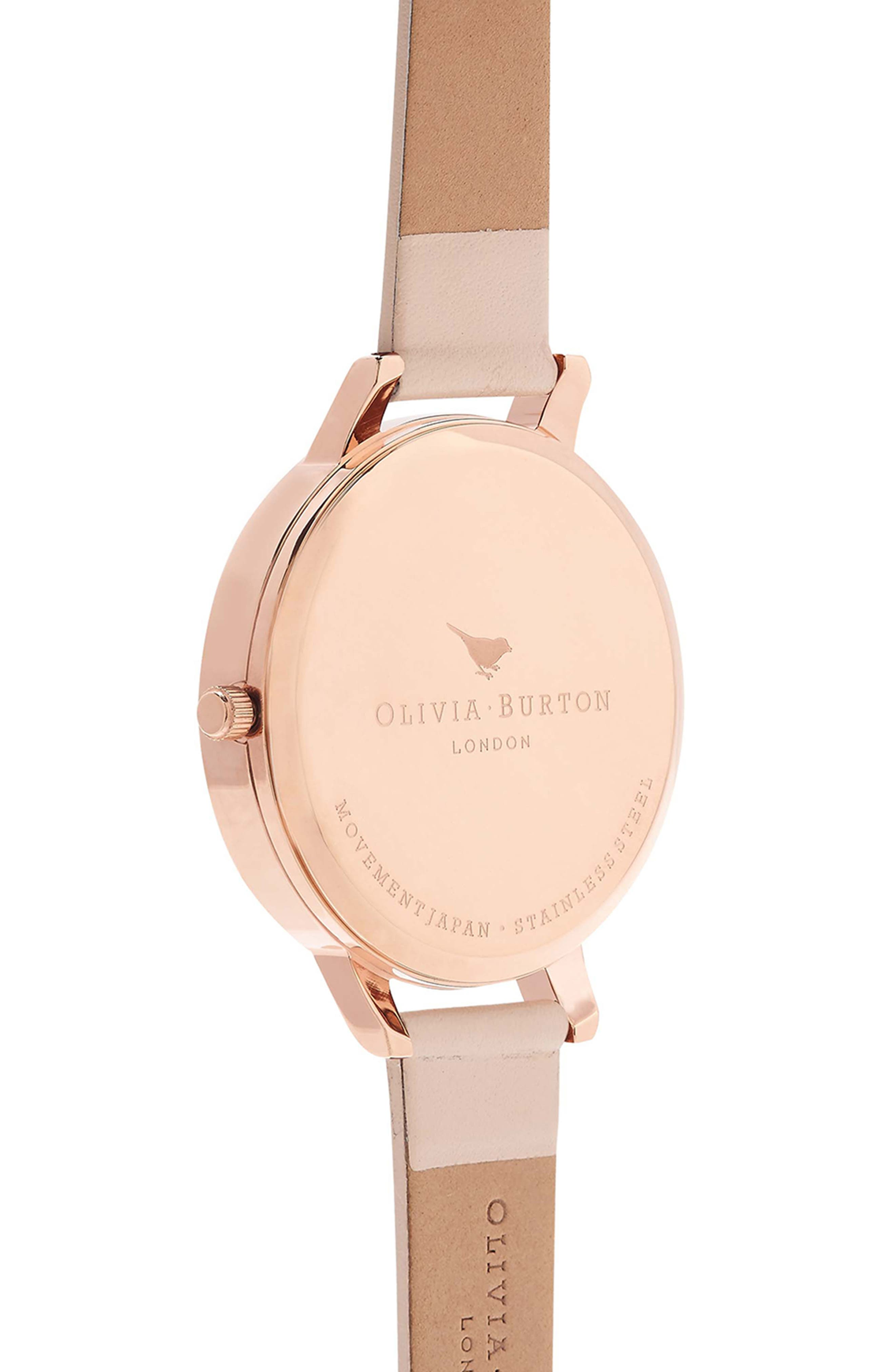 Marble Floral Leather Strap Watch, 38mm,                             Alternate thumbnail 9, color,