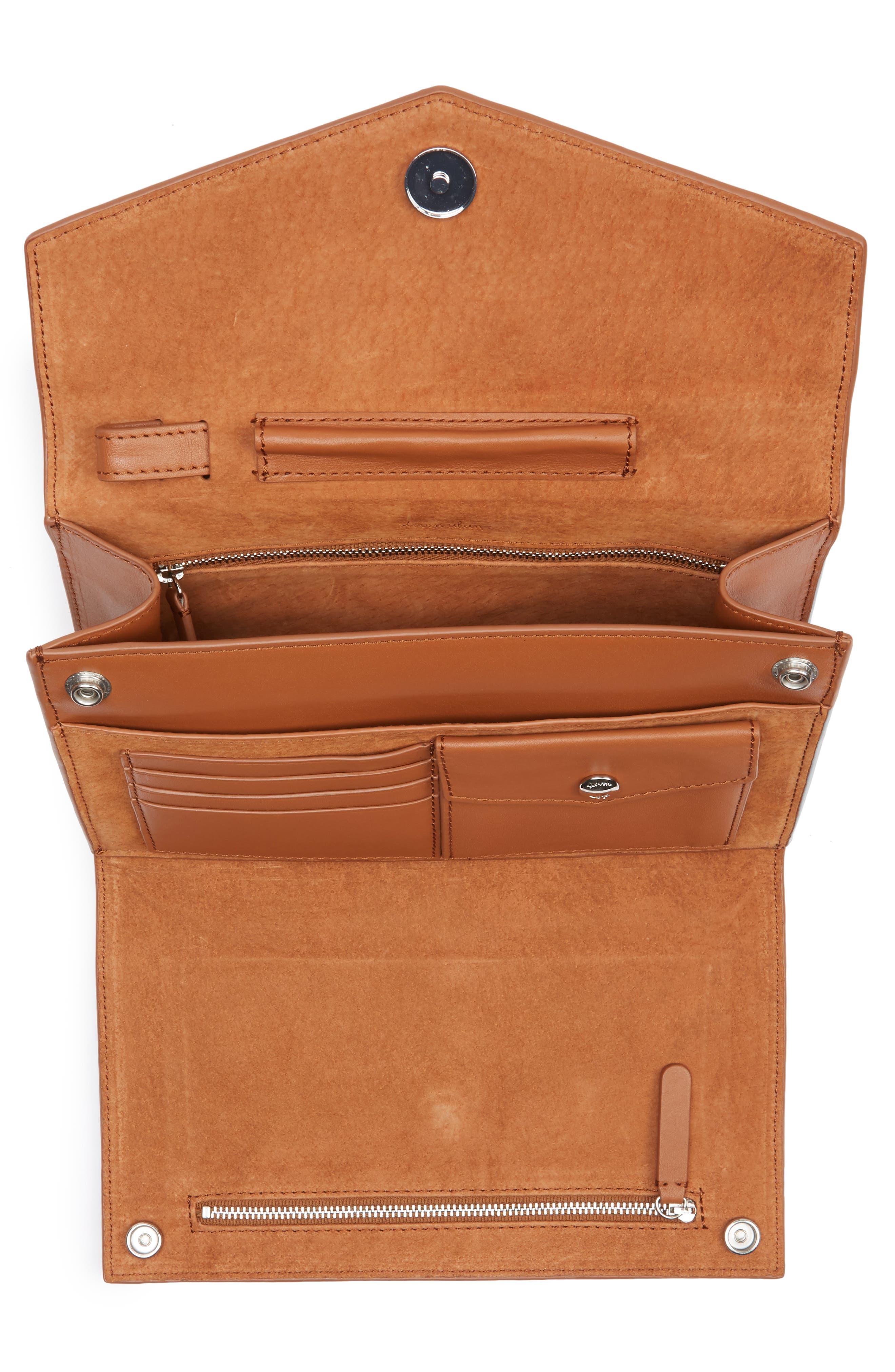 Easton Leather Envelope Crossbody Bag,                             Alternate thumbnail 4, color,                             200
