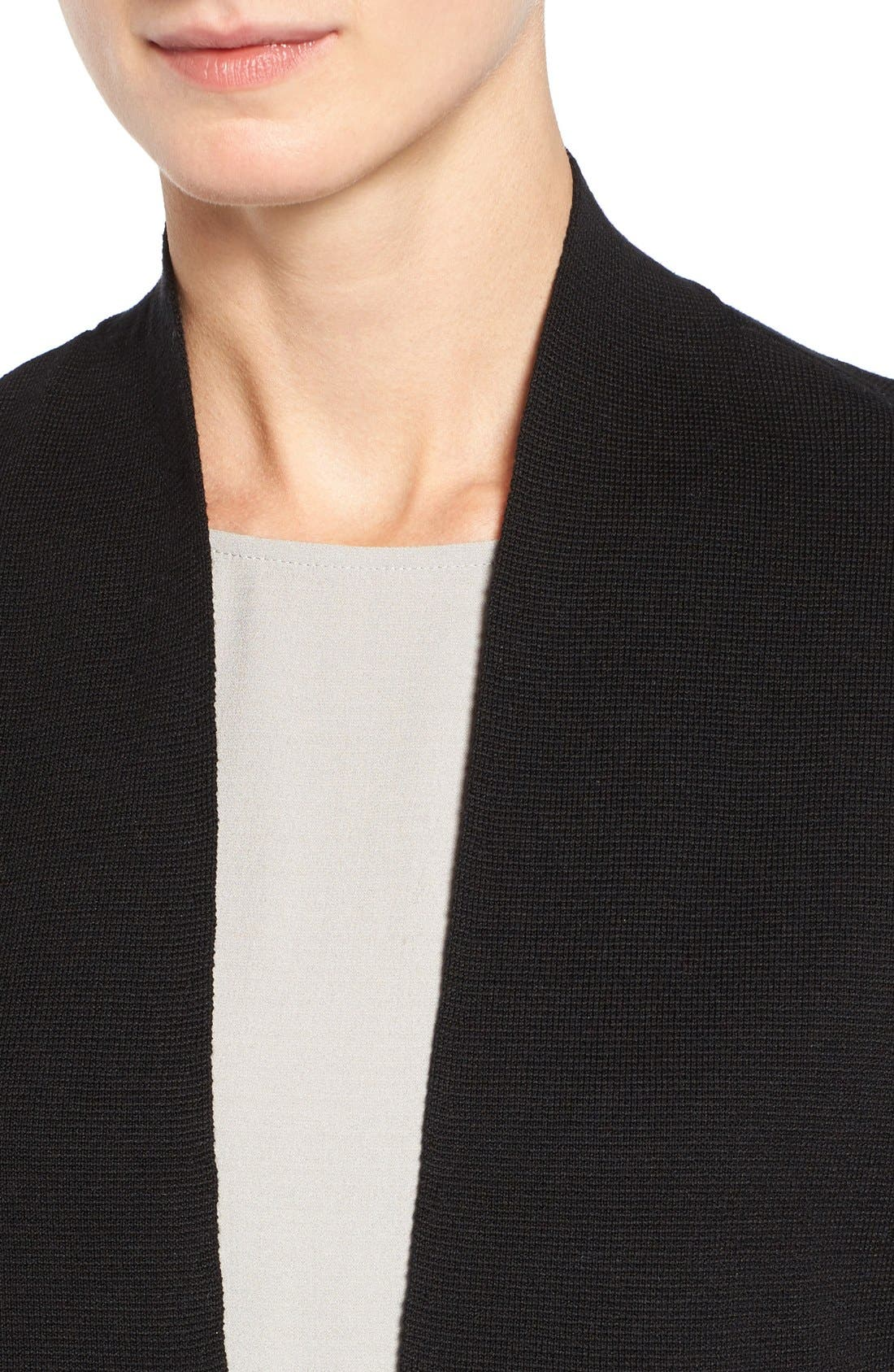 Silk & Organic Cotton Cardigan,                             Alternate thumbnail 5, color,                             001