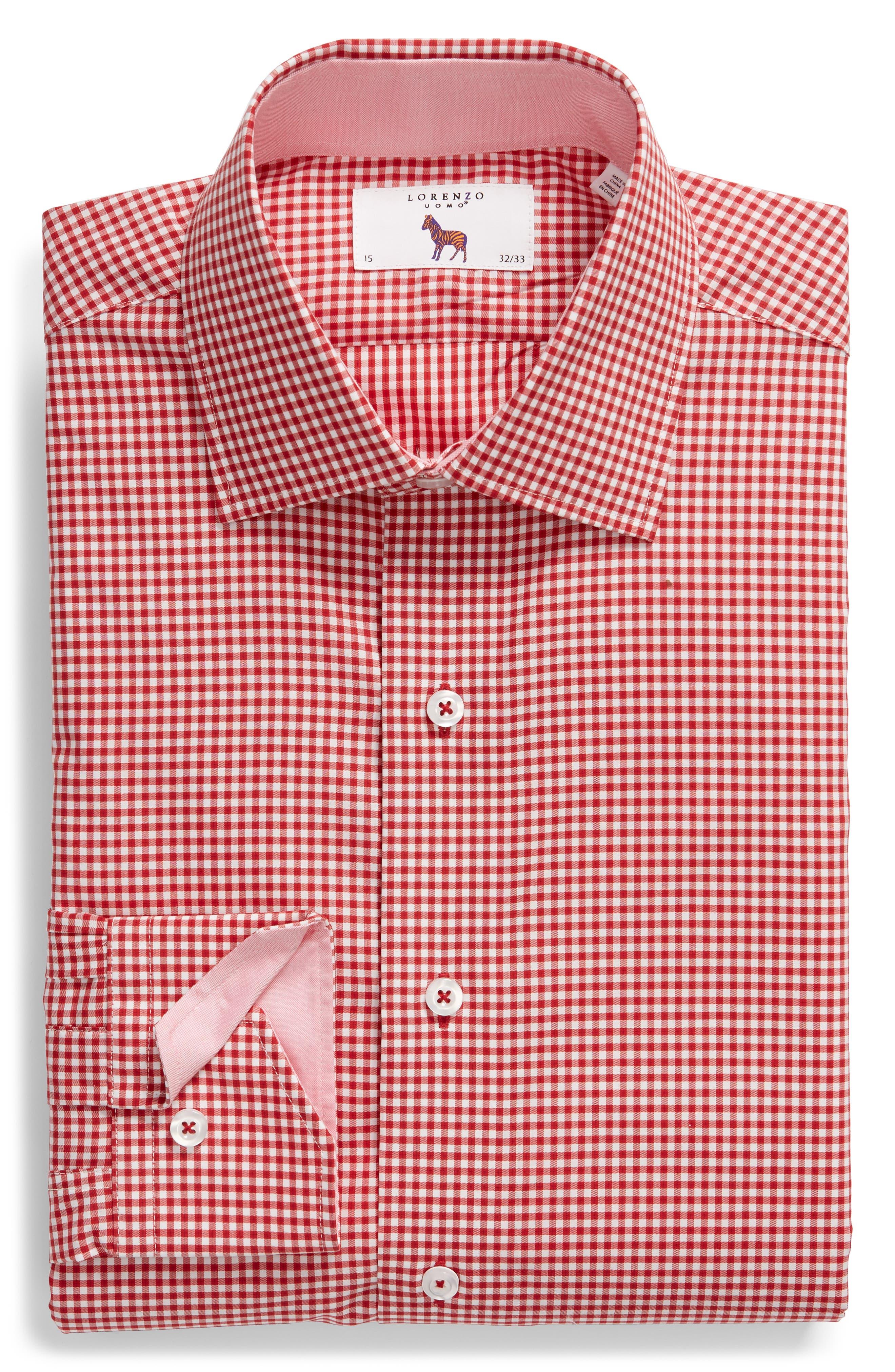 Trim Fit Check Dress Shirt,                             Alternate thumbnail 5, color,                             RED