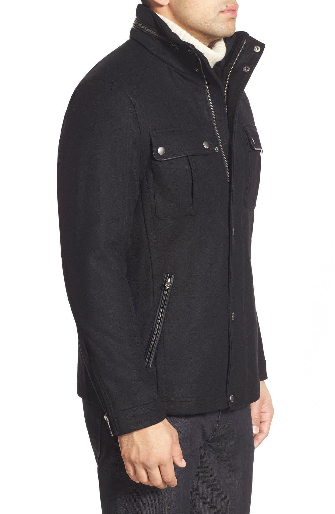 Melton Coat,                             Alternate thumbnail 3, color,                             BLACK