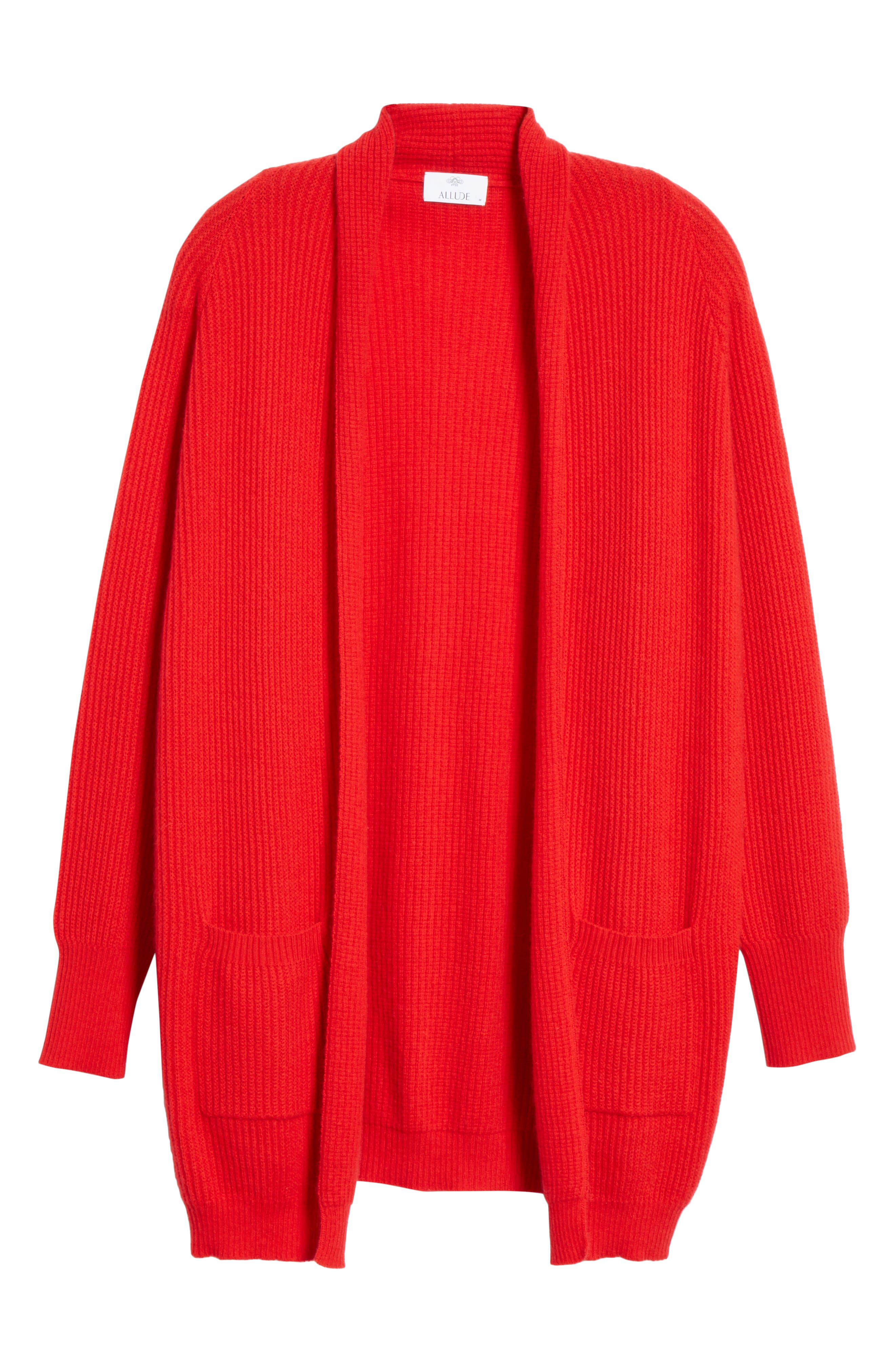 Cashmere Cardigan,                             Alternate thumbnail 6, color,                             RED