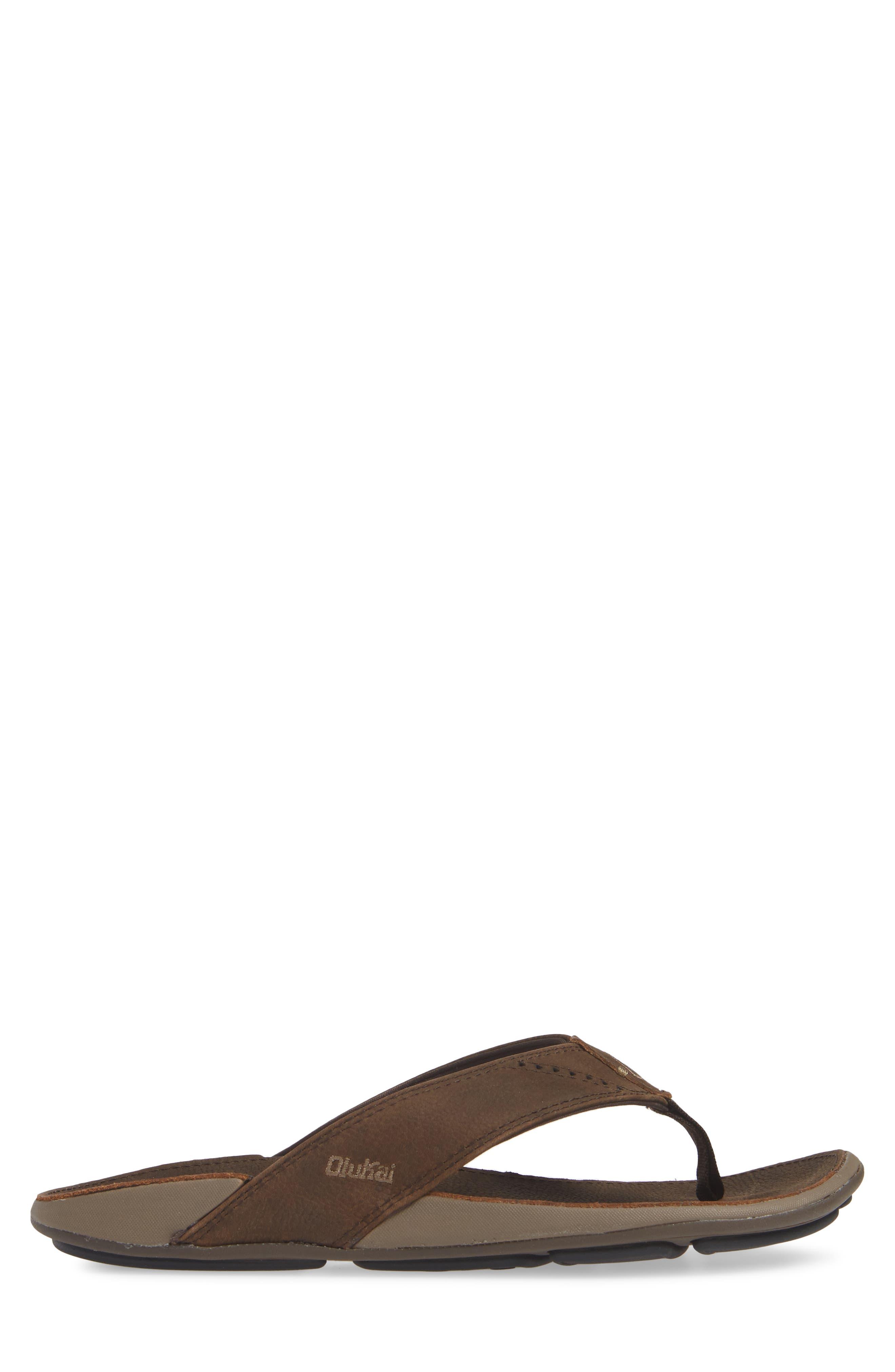 'Nui' Leather Flip Flop,                             Alternate thumbnail 3, color,                             ESPRESSO LEATHER