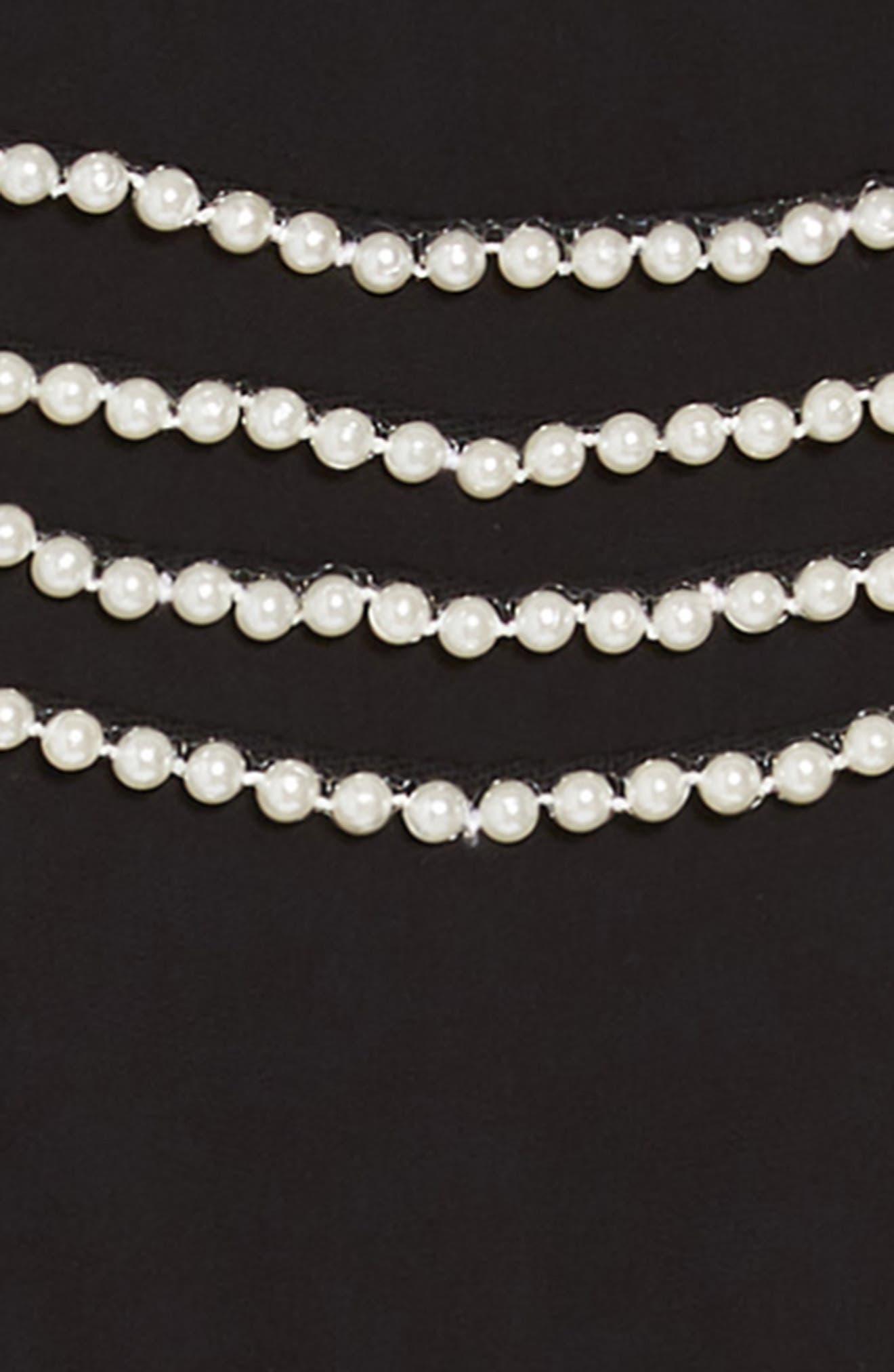 Valentina Imitation Pearl Beaded Dress,                             Alternate thumbnail 3, color,                             BLACK