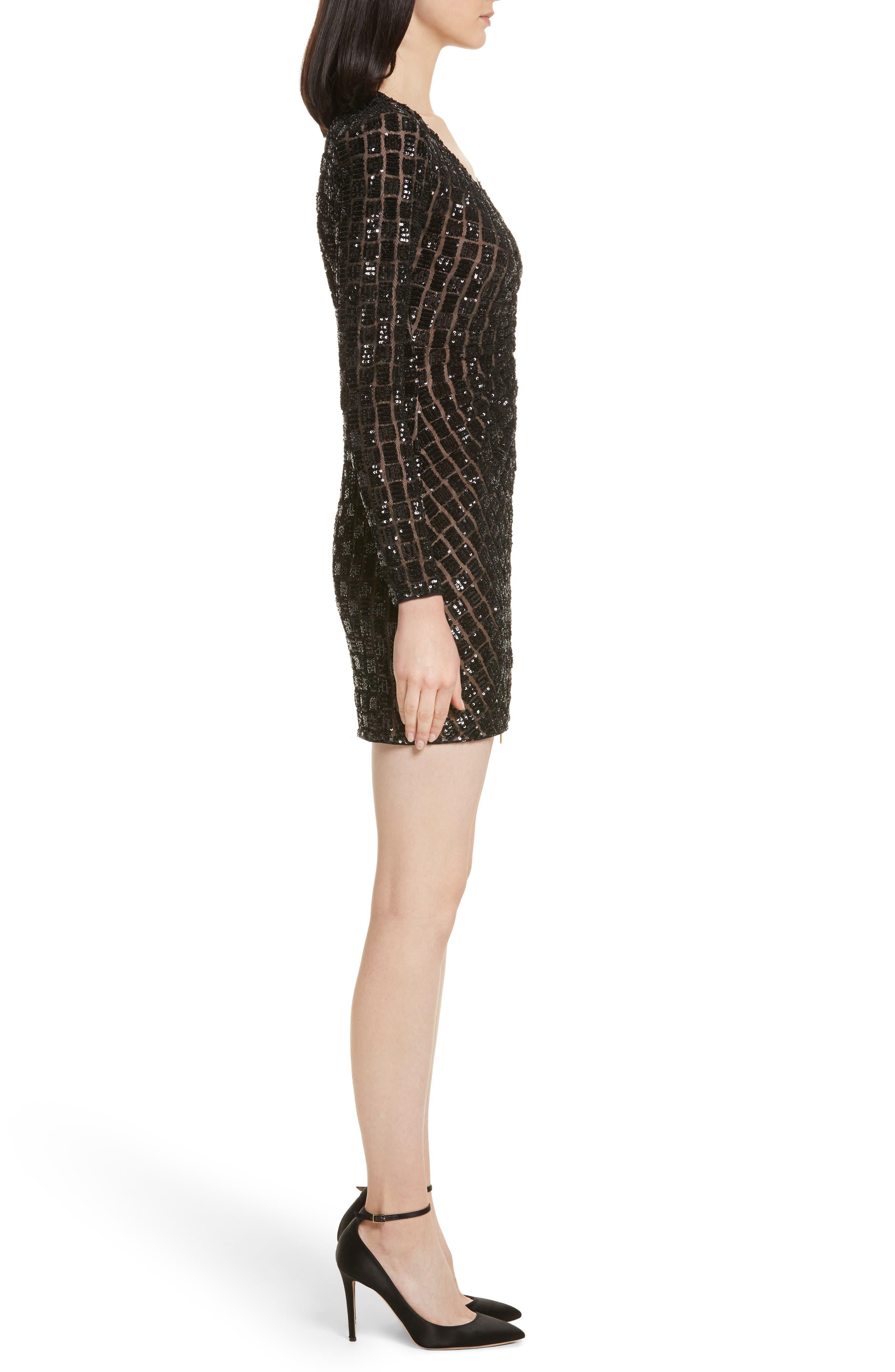 Zip Front Sequin Minidress,                             Alternate thumbnail 3, color,                             001