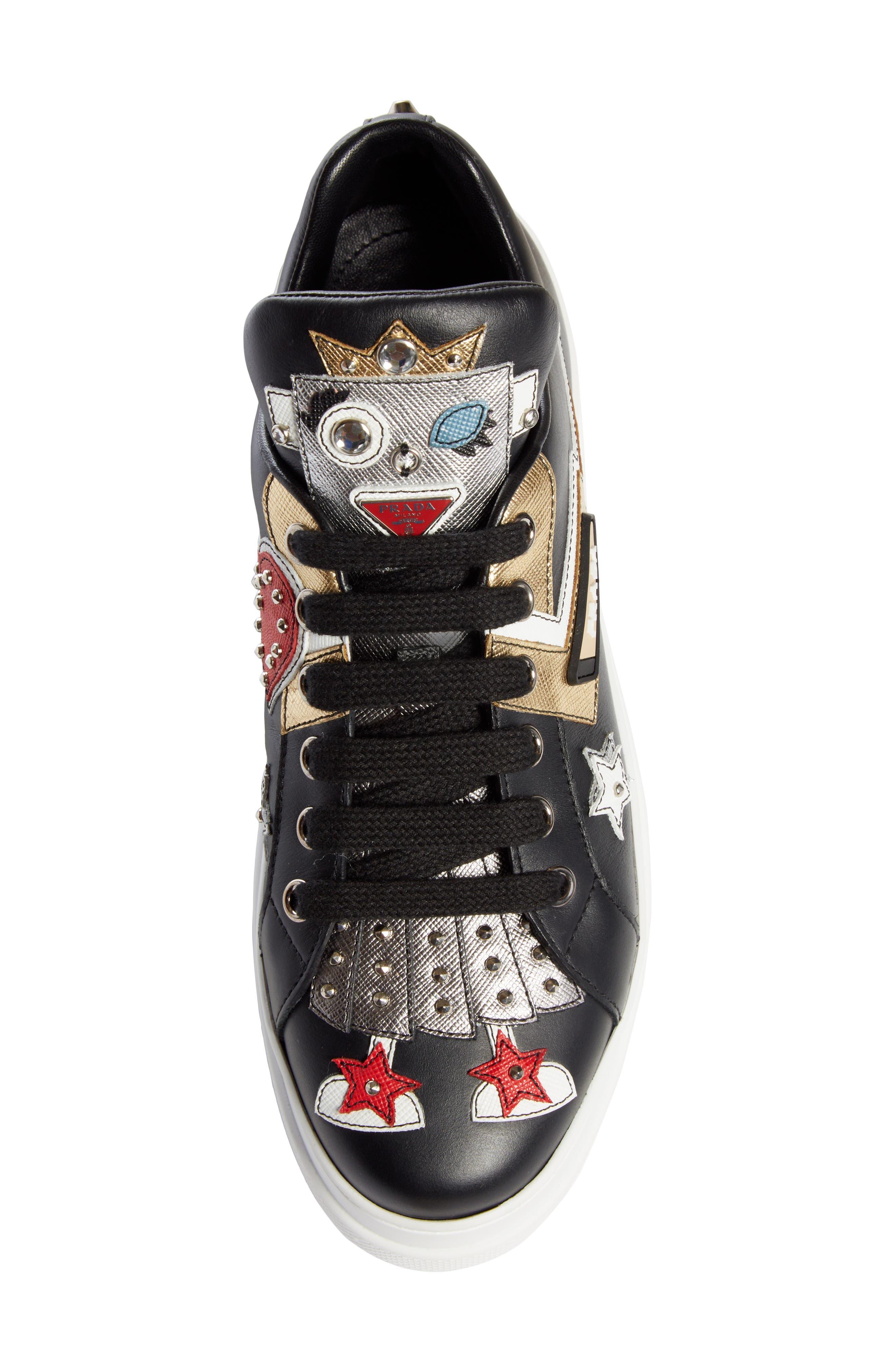 Embellished Platform Sneaker,                             Alternate thumbnail 4, color,                             BLACK/ WHITE