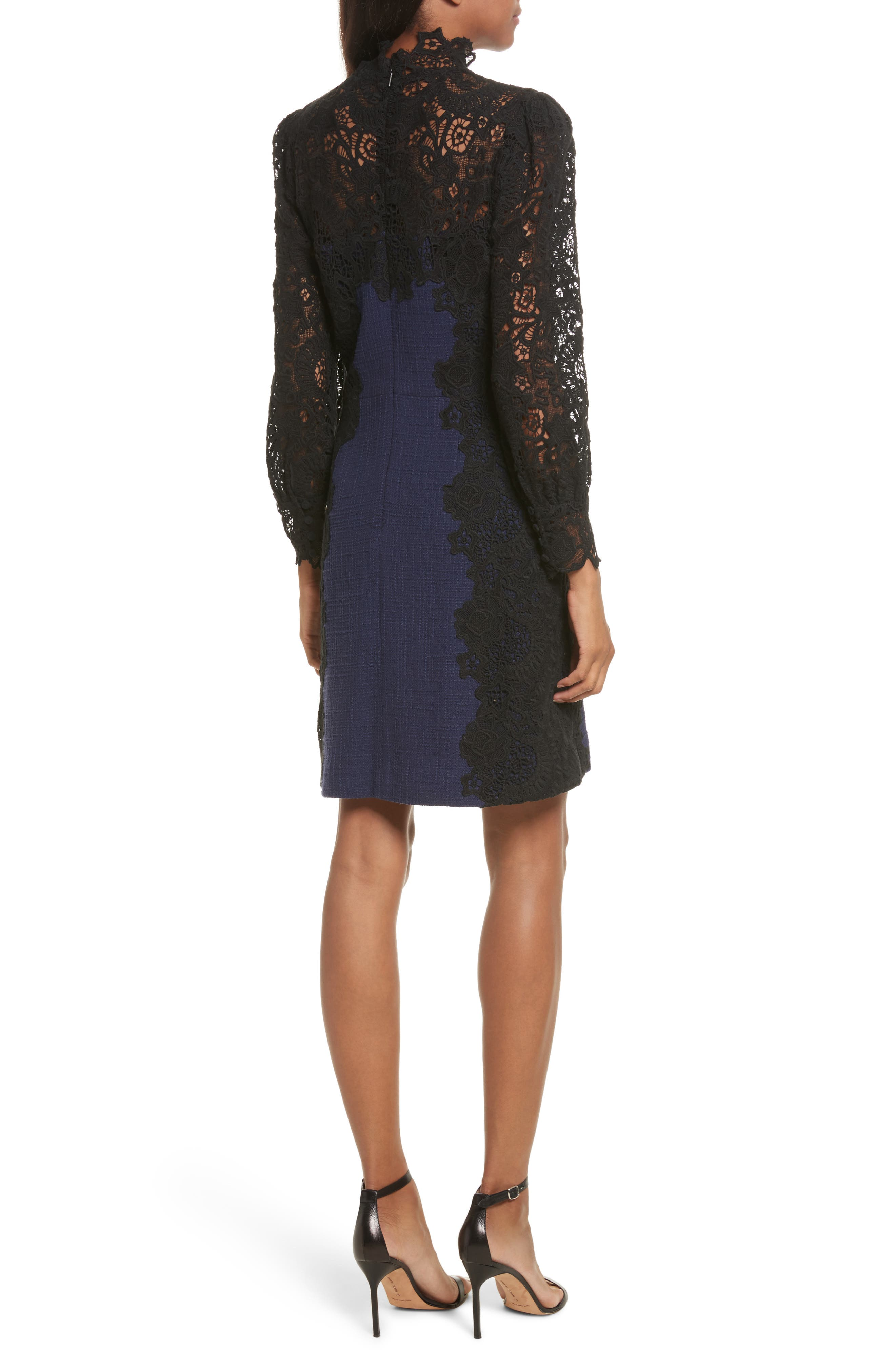 Tweed & Lace Dress,                             Alternate thumbnail 2, color,                             544