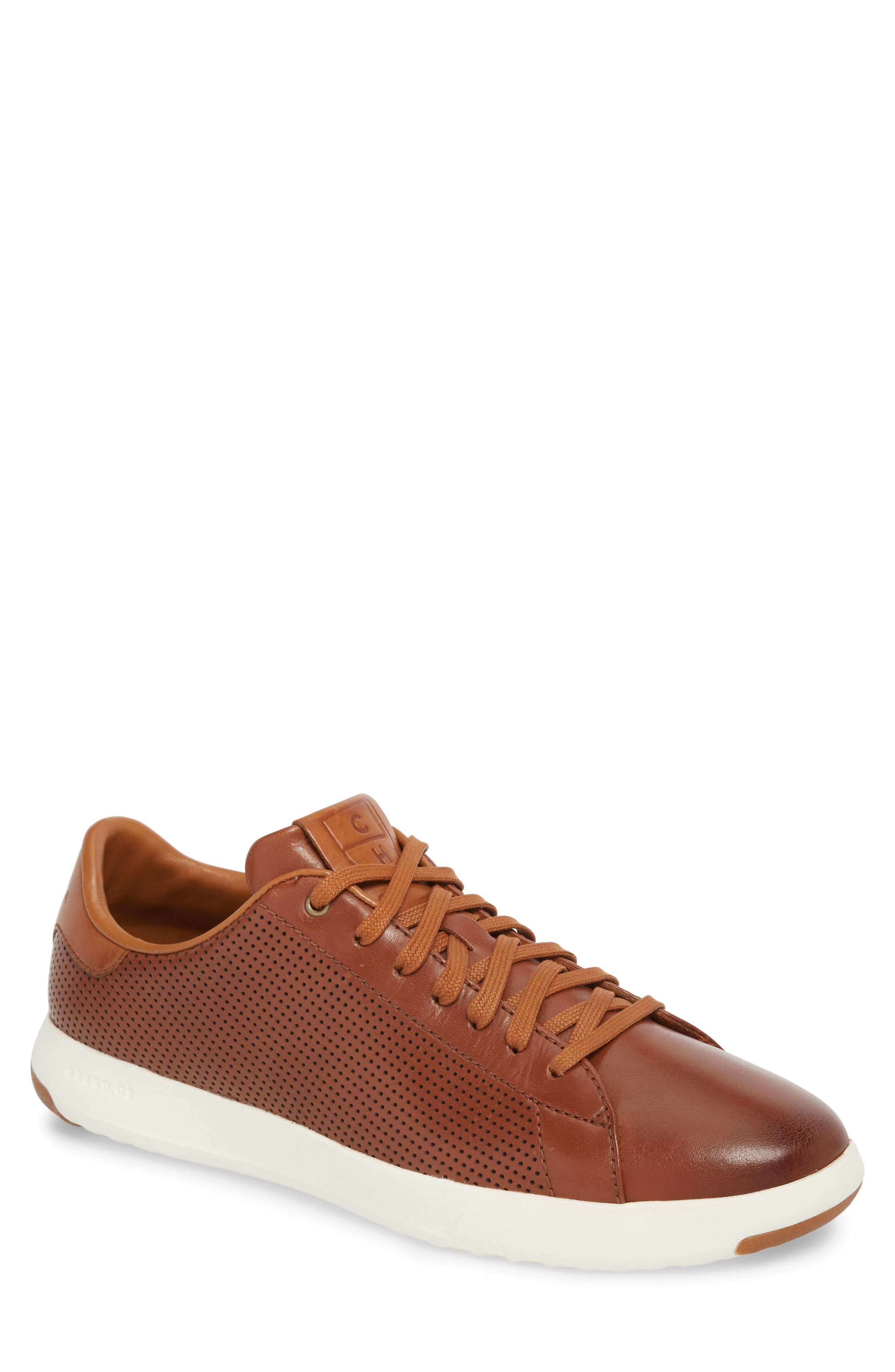 GrandPrø Perforated Low Top Sneaker,                             Main thumbnail 1, color,                             WOODBURY LEATHER