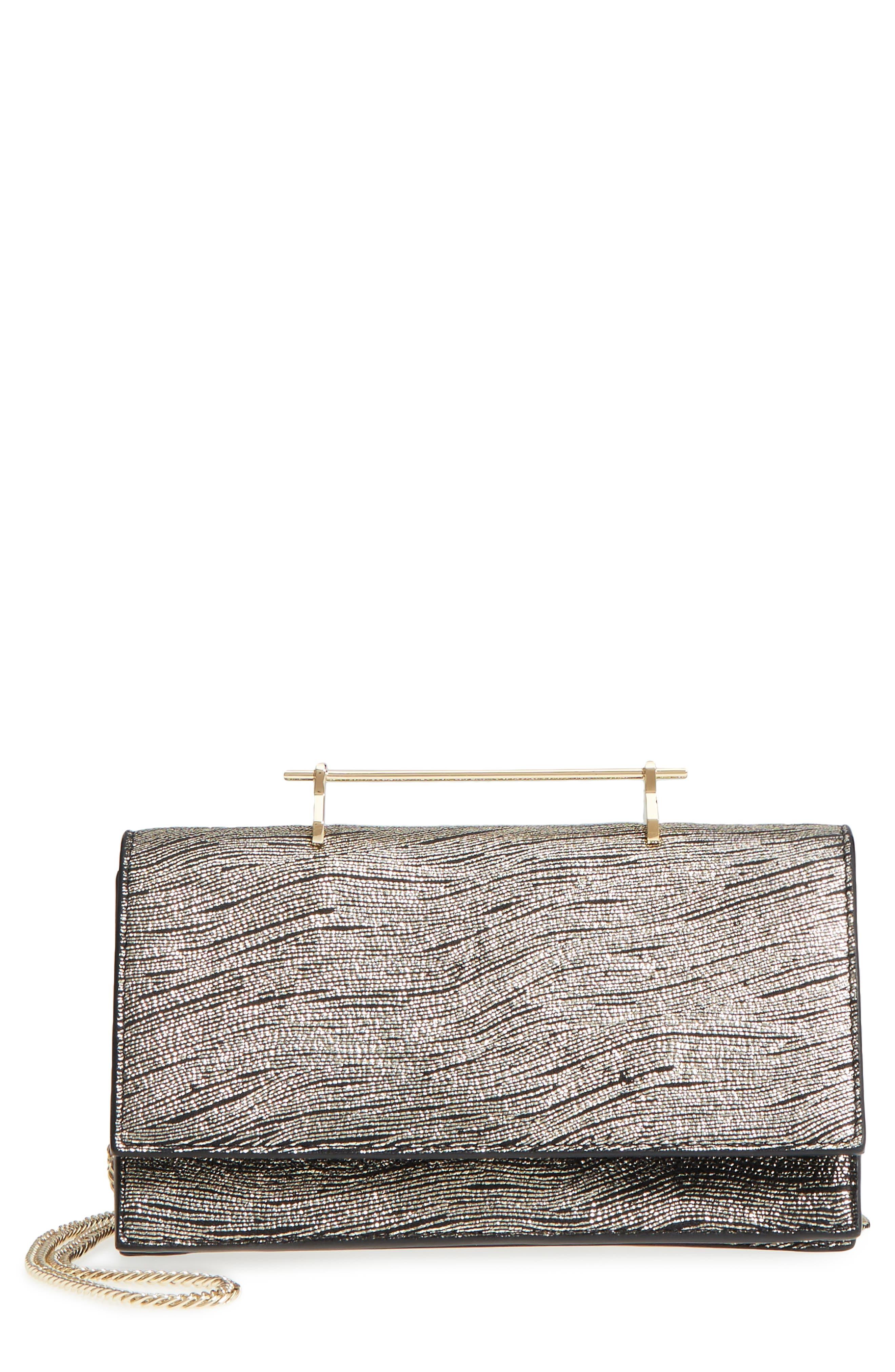 Alexia Metallic Calfskin Leather Clutch,                         Main,                         color, 710