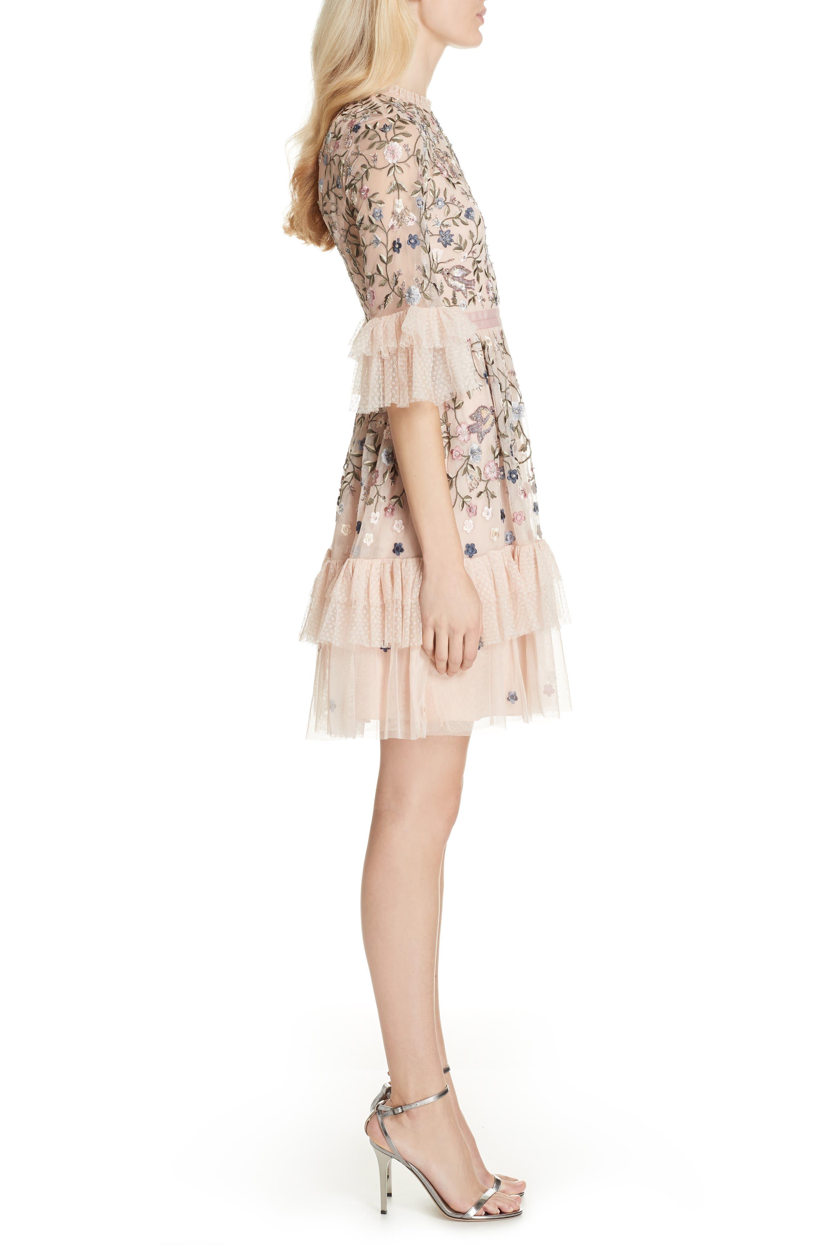 Dusk Floral A-Line Dress,                             Alternate thumbnail 3, color,                             ROSE QUARTZ