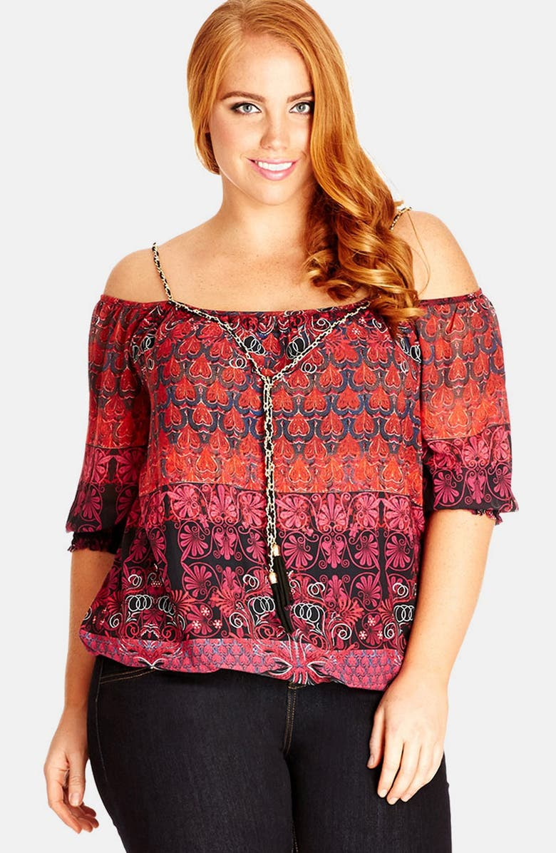 51d76e1d0d6ab City Chic  Charm Me  Print Chiffon Top (Plus Size)