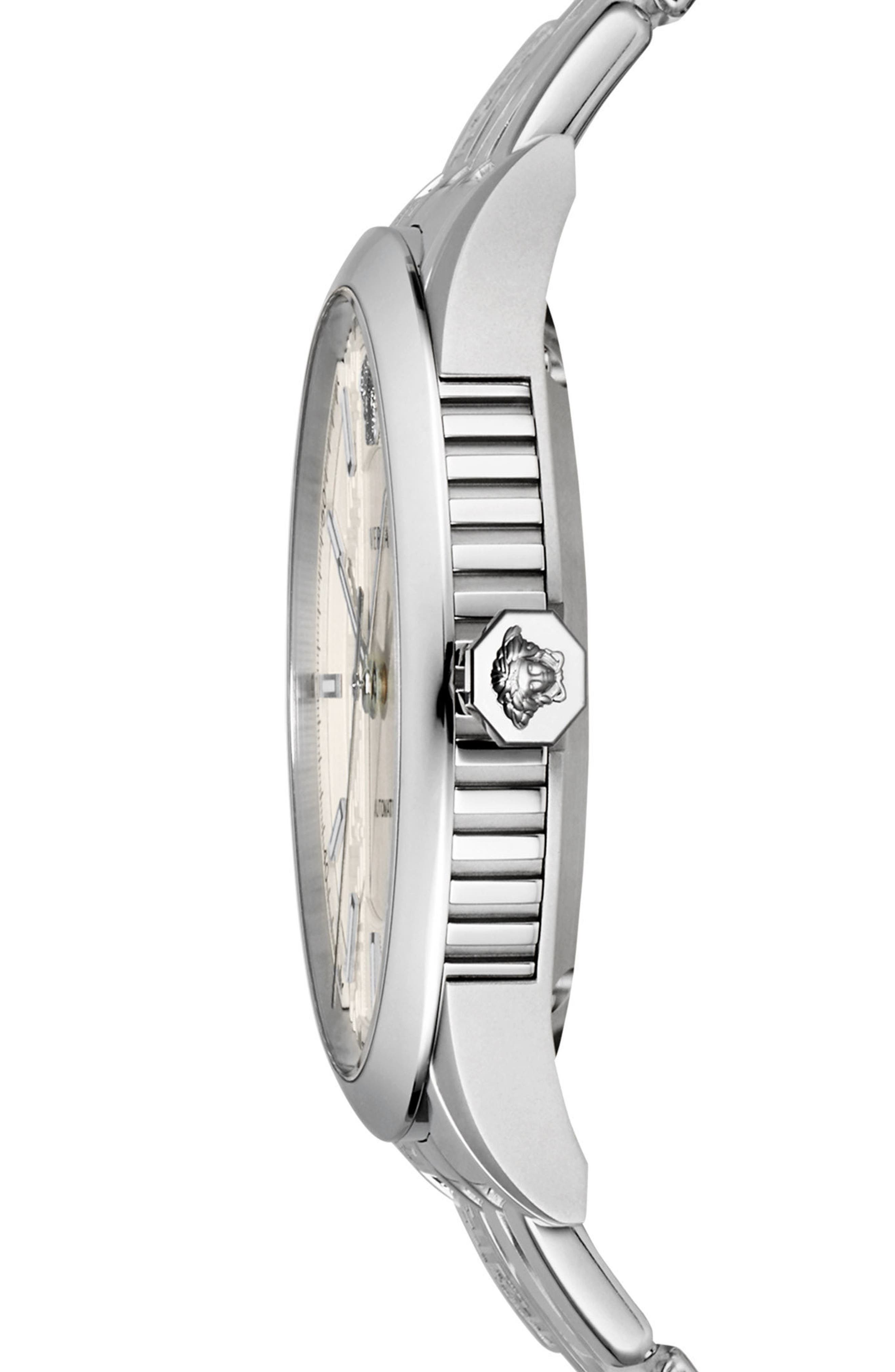 Aiakos Automatic Bracelet Watch, 44mm,                             Alternate thumbnail 3, color,                             SILVER