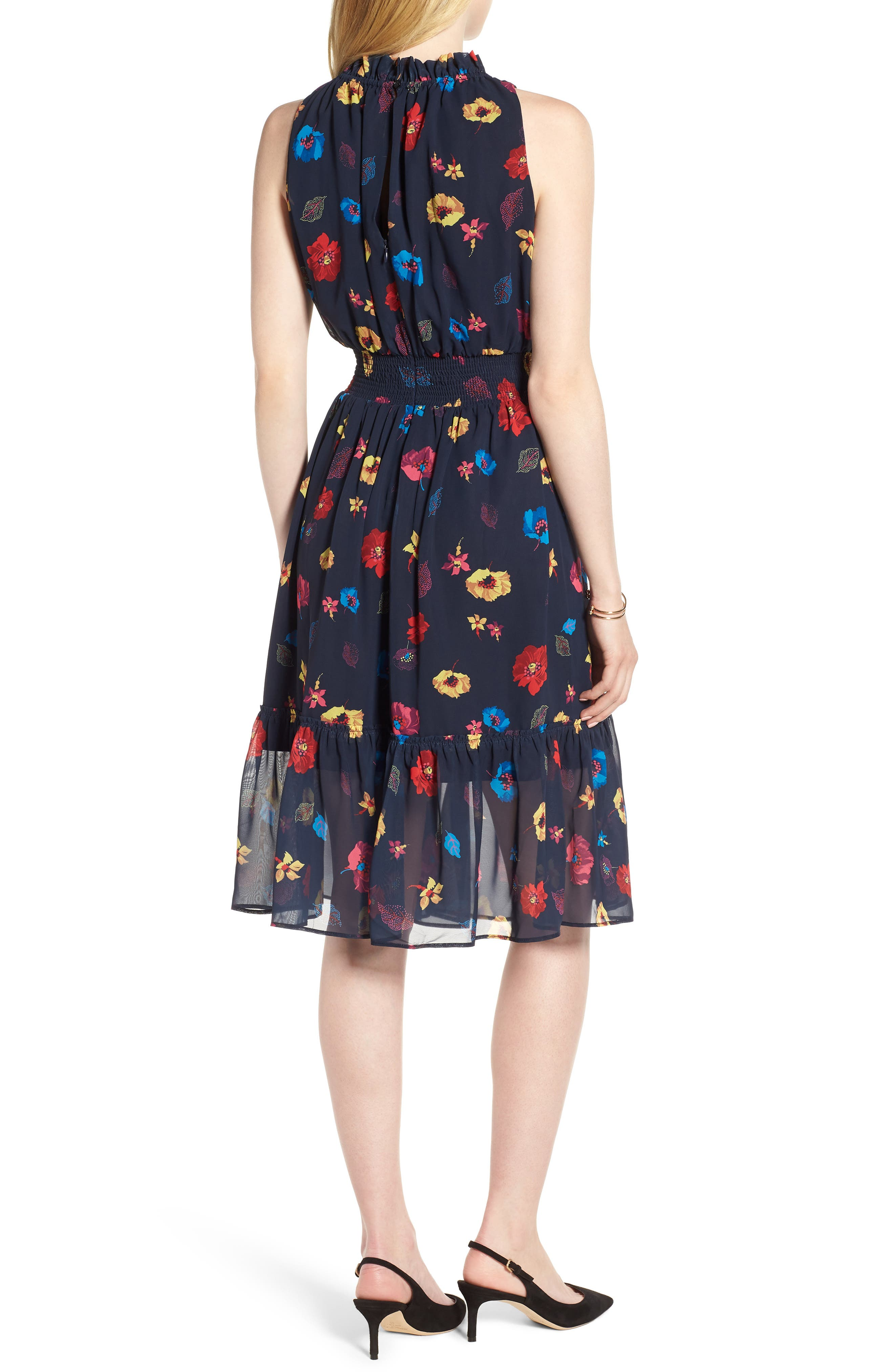 Floral Chiffon Fit & Flare Dress,                             Alternate thumbnail 2, color,                             NAVY POP FLOWER