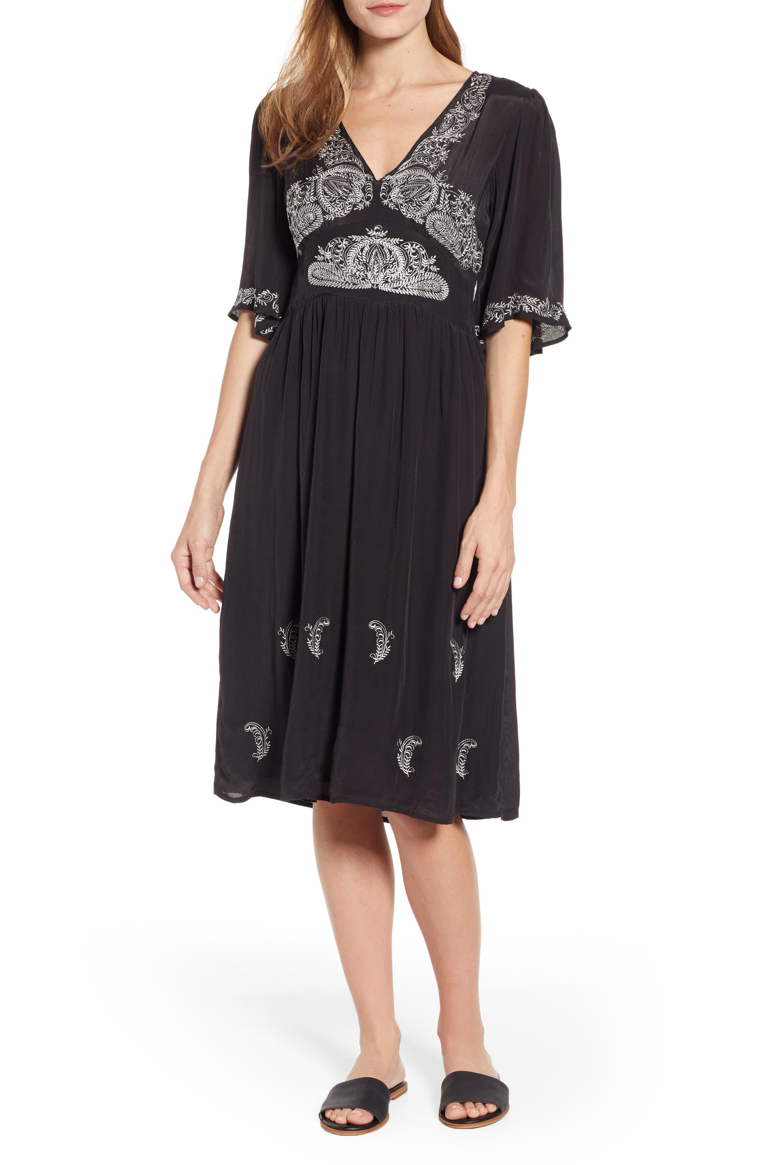 Lucky Brand Embroidered Flutter Sleeve Midi Dress, Black