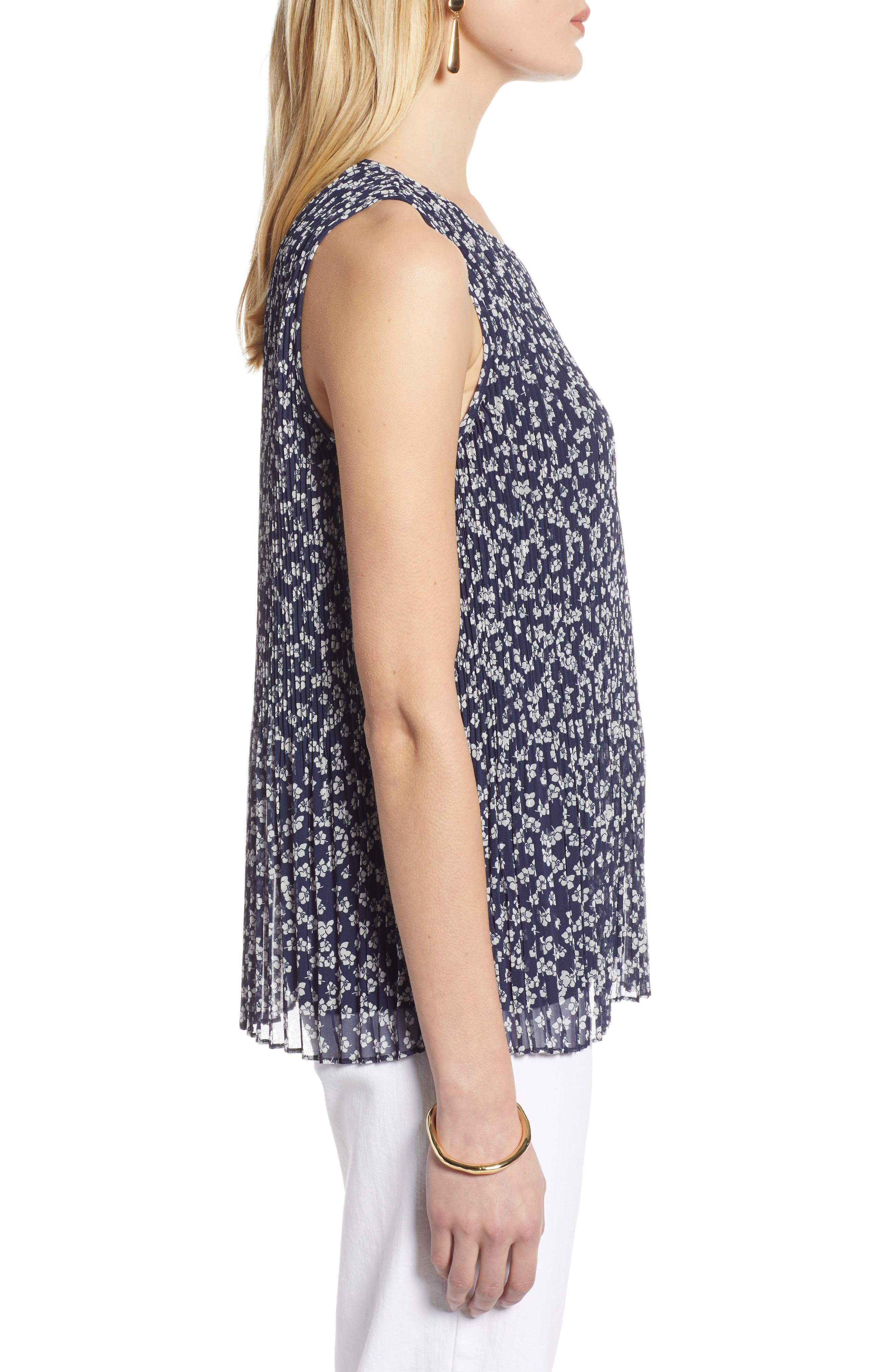 HALOGEN<SUP>®</SUP>,                             Pleated Top,                             Alternate thumbnail 3, color,                             NAVY FLORAL
