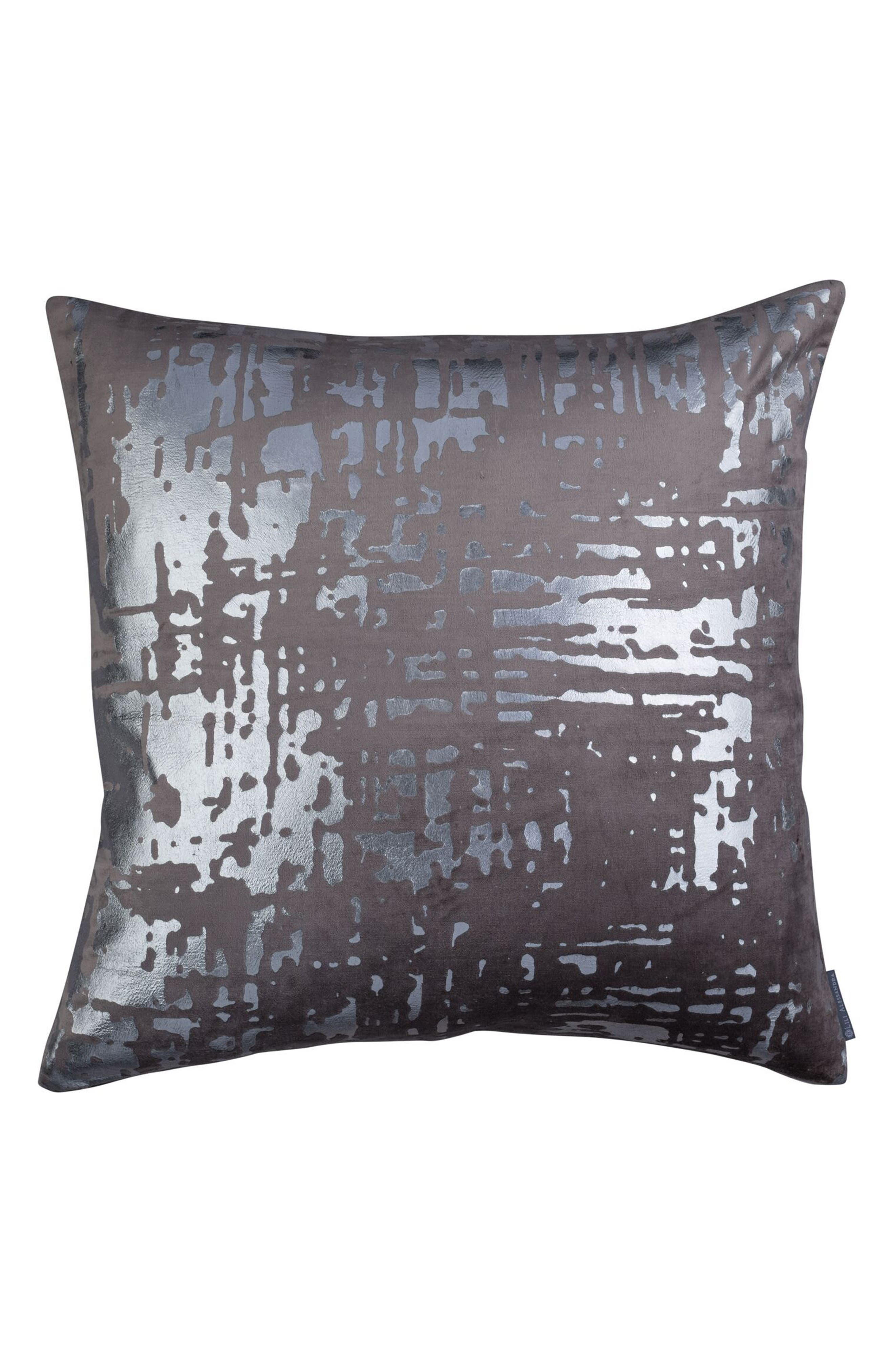 Moderne Velvet Foil Accent Pillow,                             Main thumbnail 1, color,                             GRAY