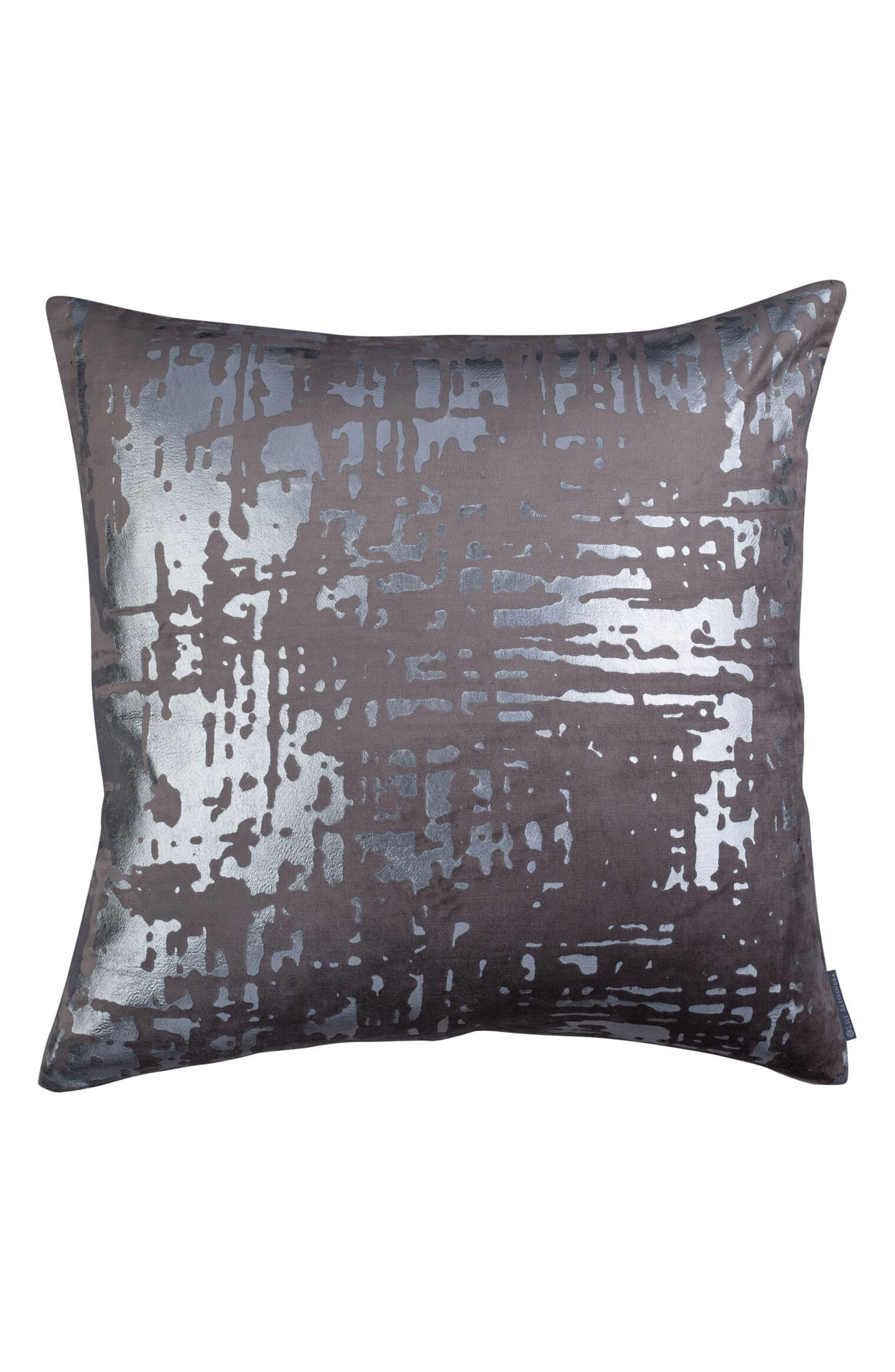 Moderne Velvet Foil Accent Pillow,                         Main,                         color, GRAY
