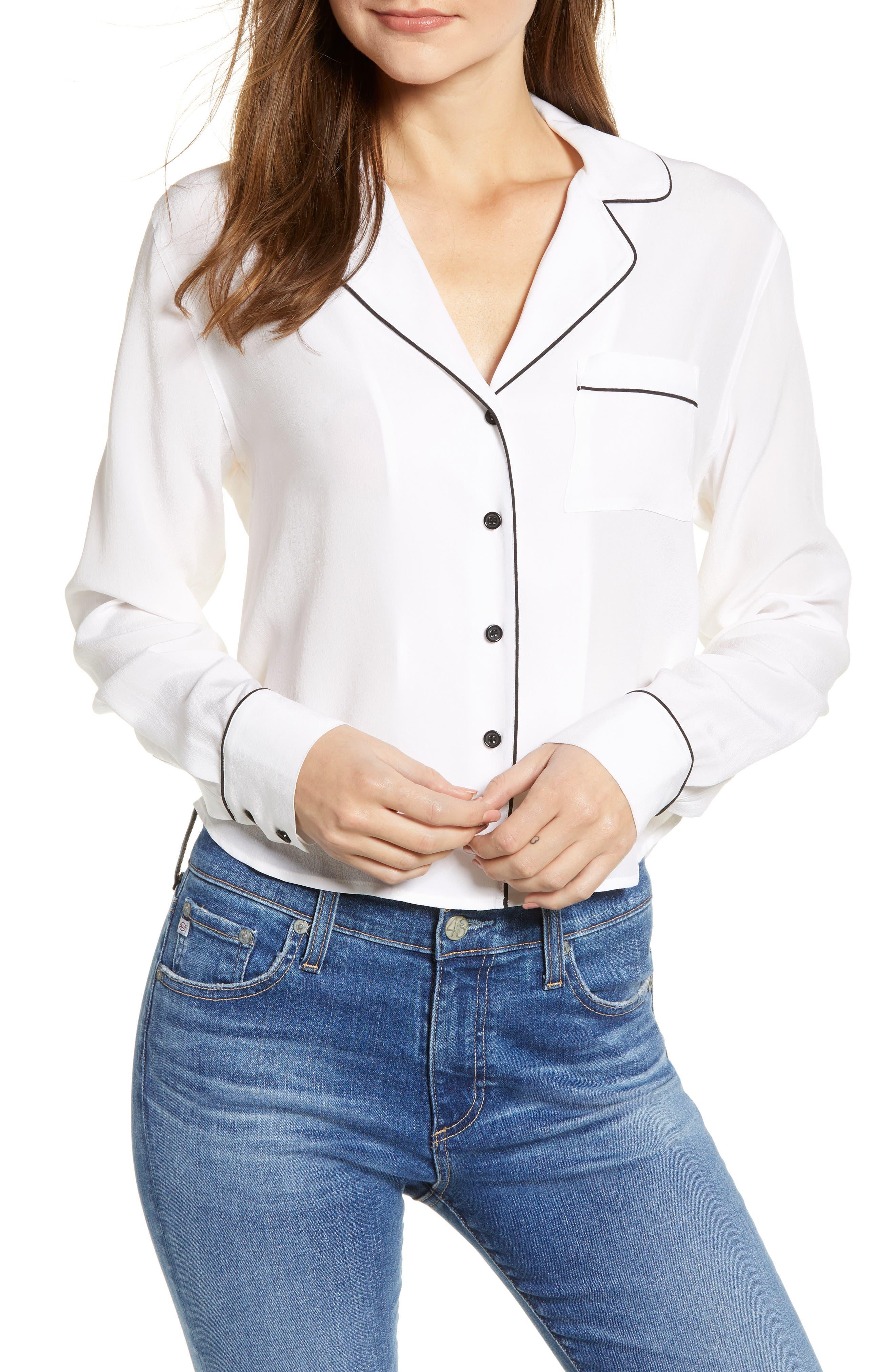 Amara Silk Blouse,                         Main,                         color, WHITE