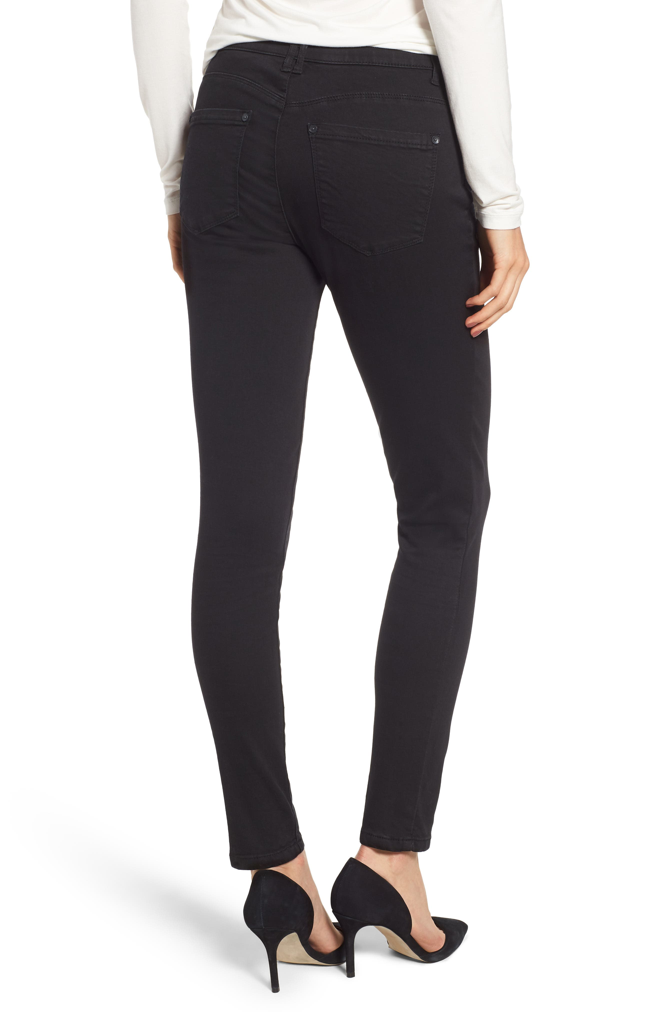 WIT & WISDOM, High Rise Ab-solution Skinny Jeans, Alternate thumbnail 2, color, BLACK