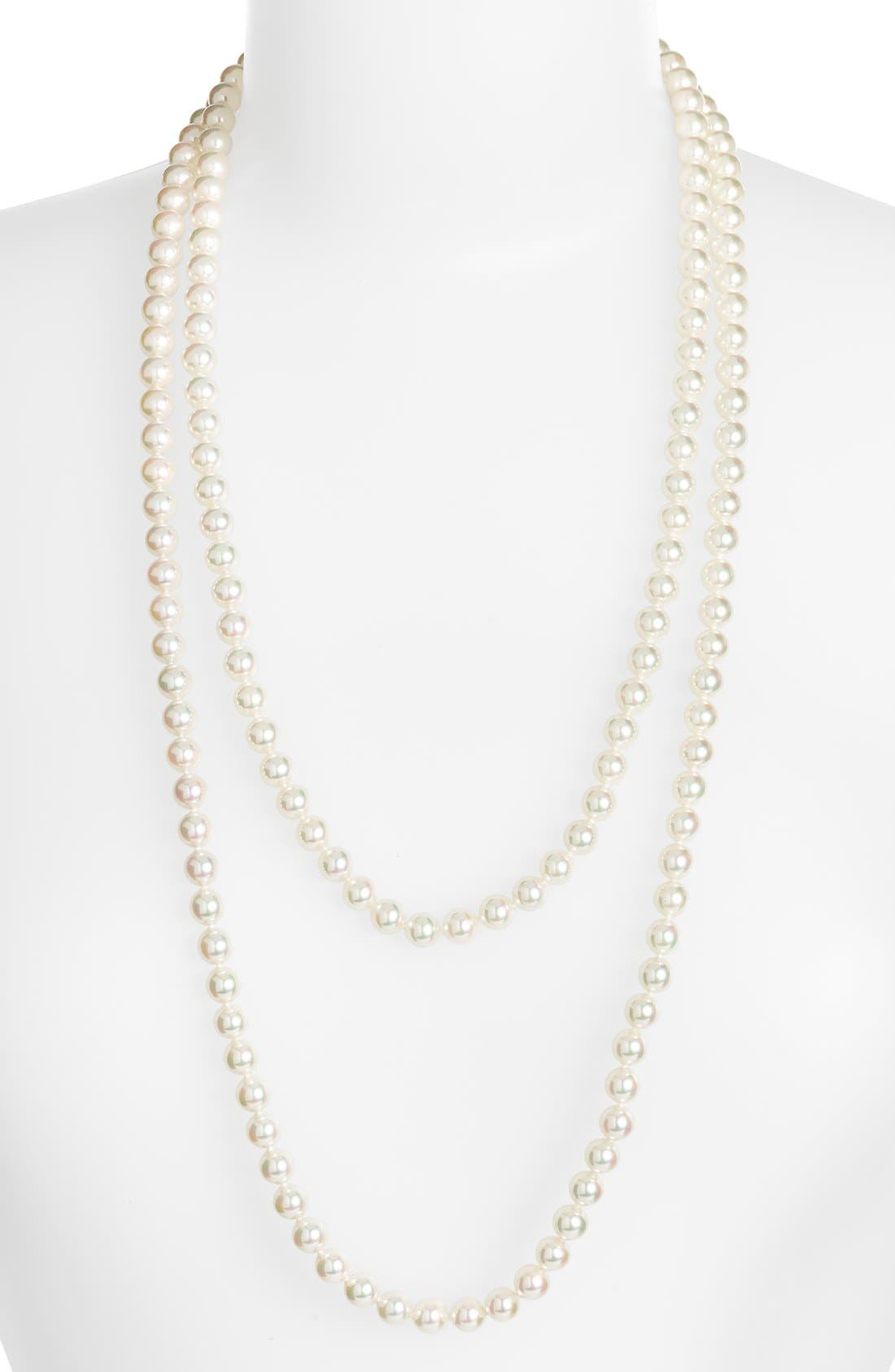 7mm Round Pearl Endless Rope Necklace,                             Alternate thumbnail 2, color,                             WHITE/ SILVER