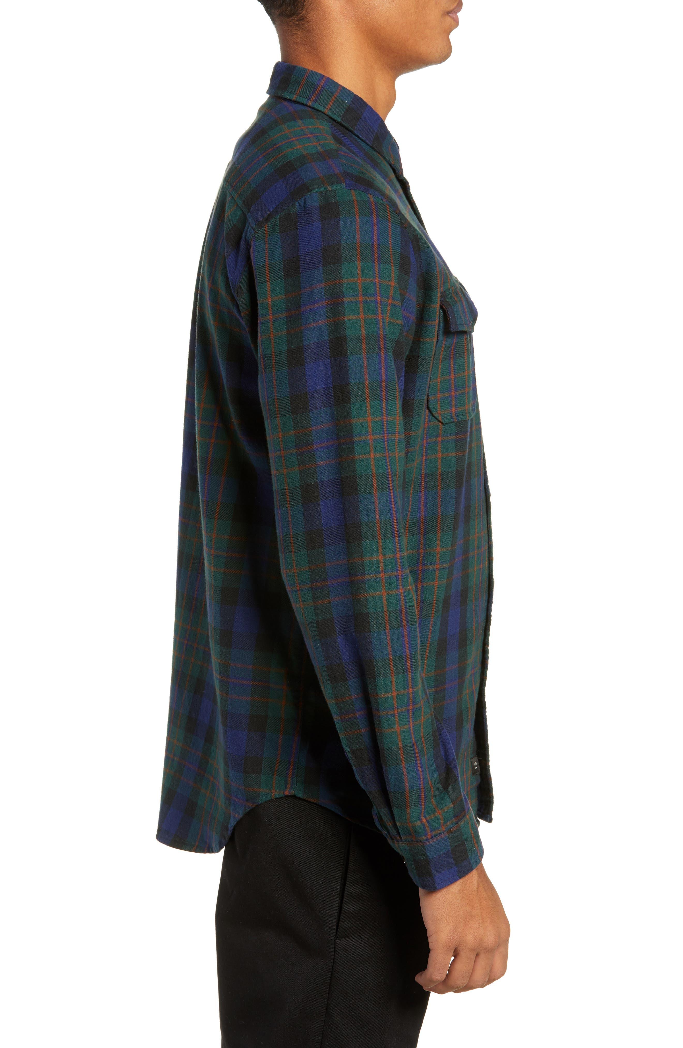 Flanigan Woven Shirt,                             Alternate thumbnail 3, color,                             BOTTLE GREEN