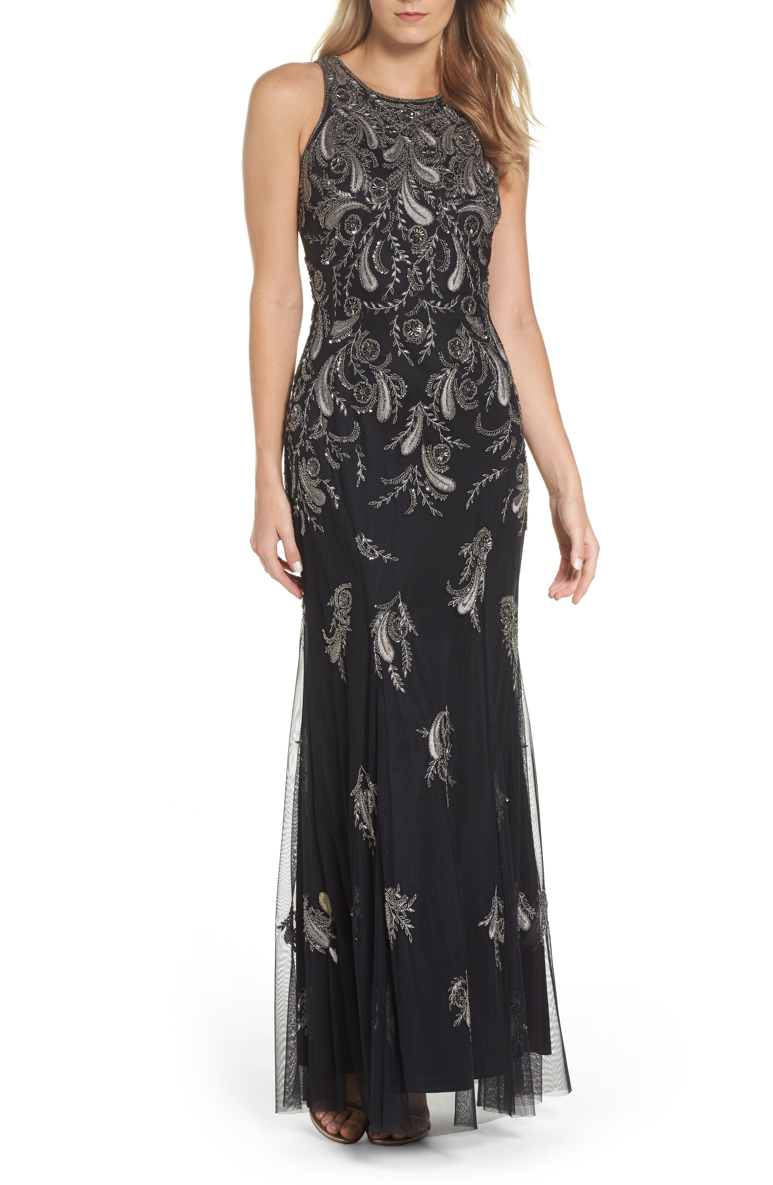 Embellished Sheer Back Maxi Dress,                         Main,                         color,