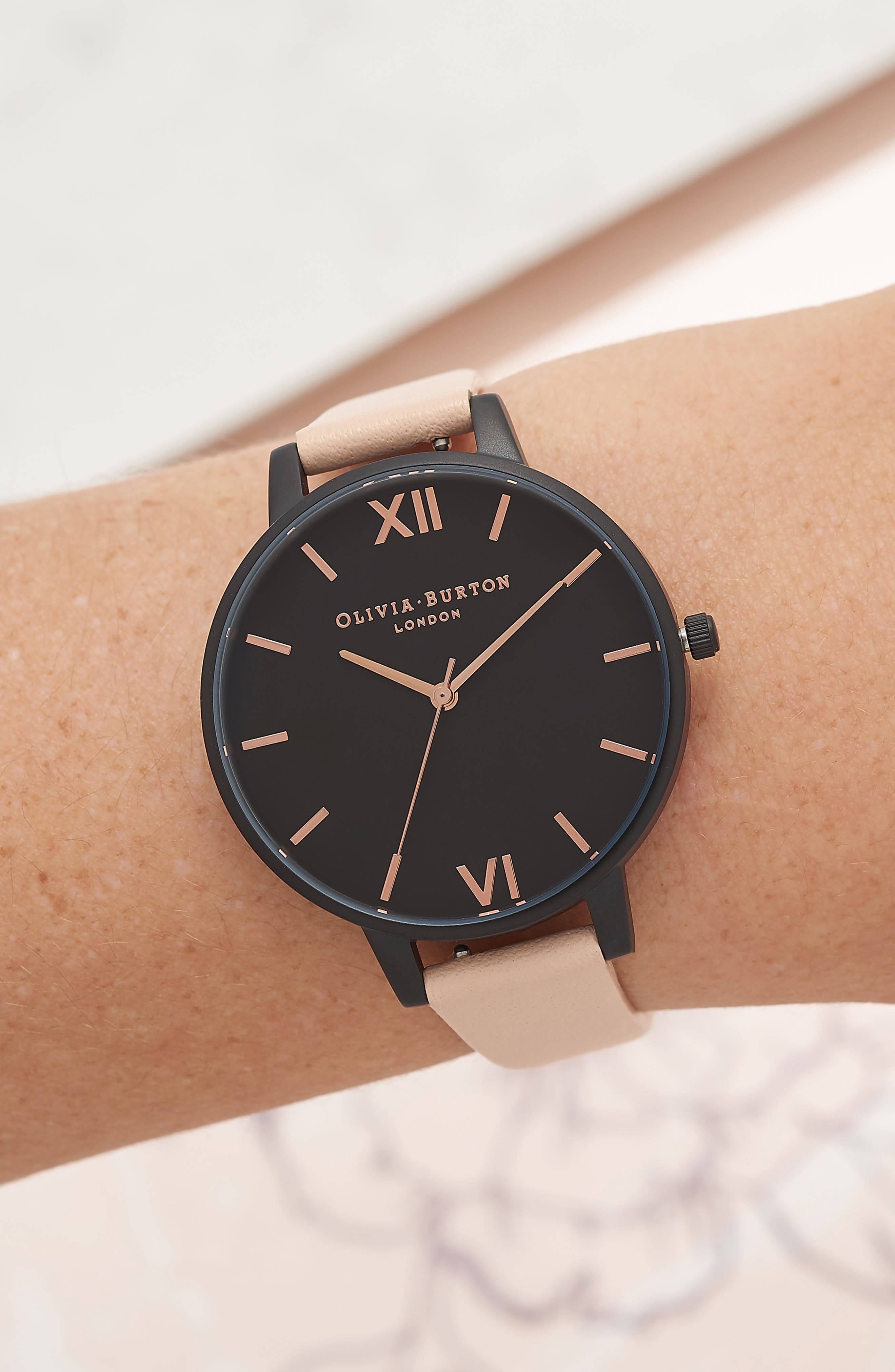 After Dark Leather Strap Watch, 38mm,                             Alternate thumbnail 2, color,                             PINK/ BLACK