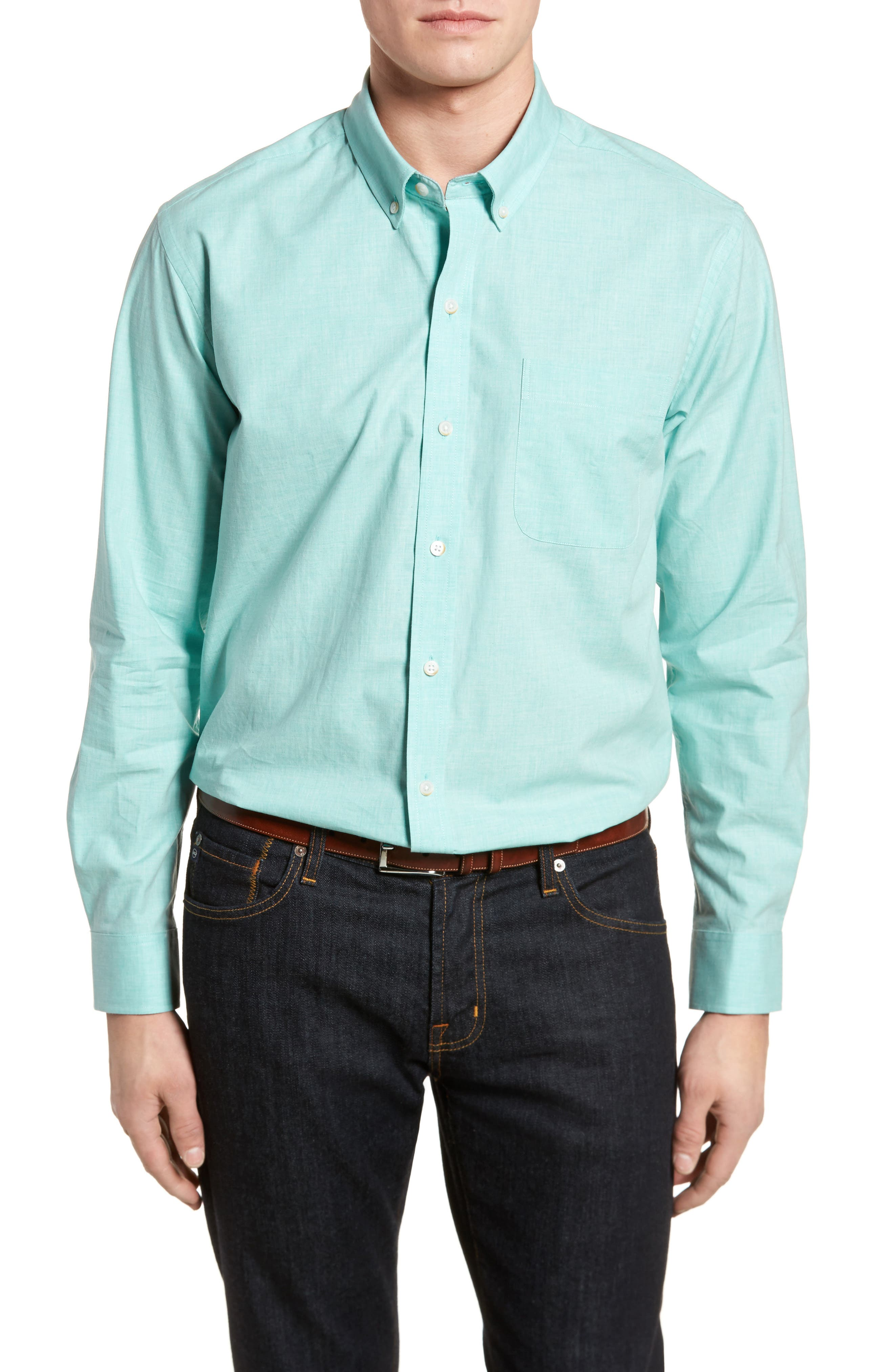 Heather Classic Fit No-Iron Sport Shirt,                         Main,                         color, 328
