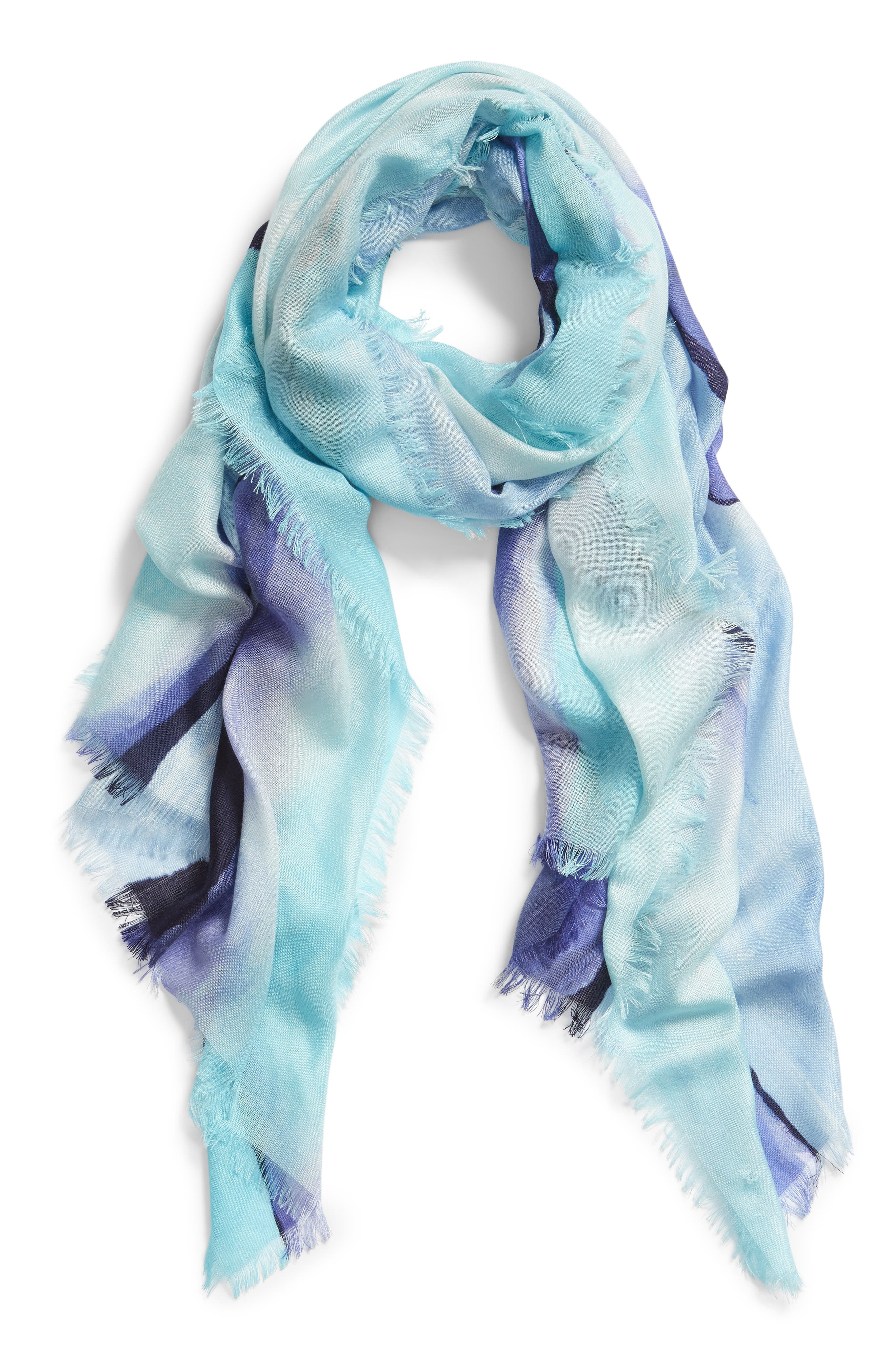 Eyelash Trim Print Cashmere & Silk Wrap,                             Alternate thumbnail 2, color,                             BLUE PAINT STRIPE PRINT