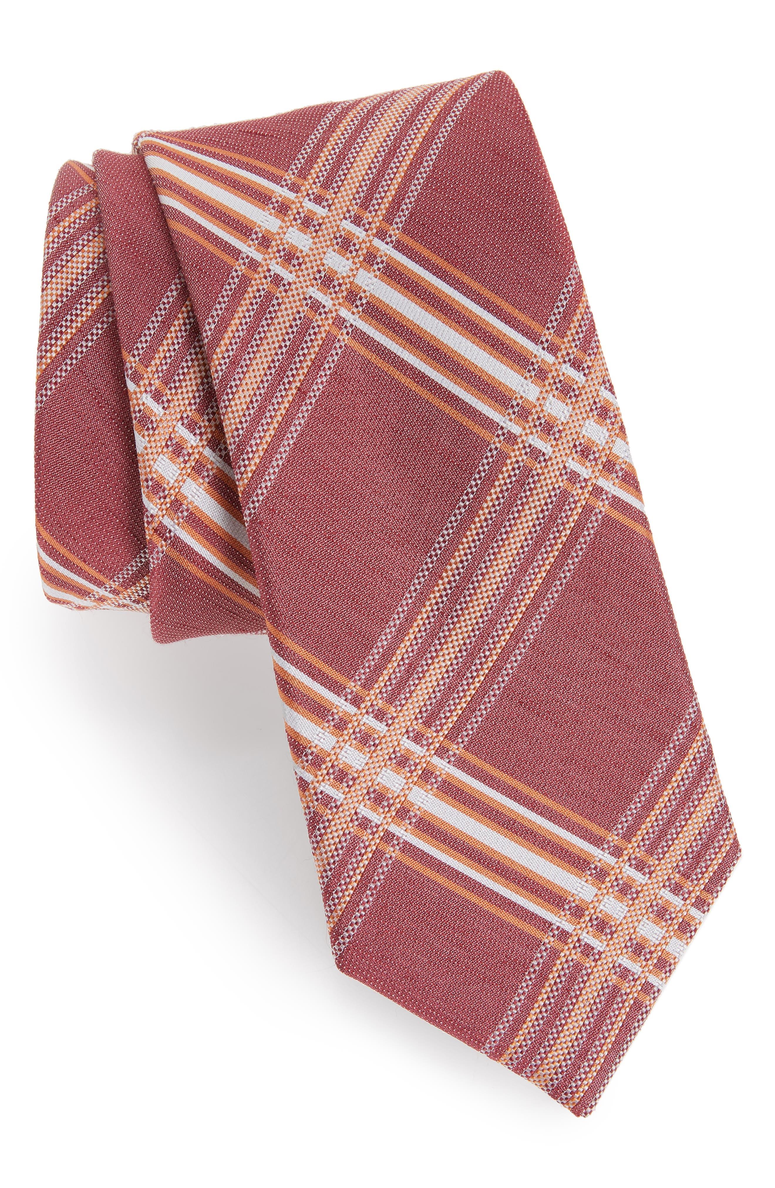 KP Plaid Silk & Linen Tie,                         Main,                         color, MARSALA