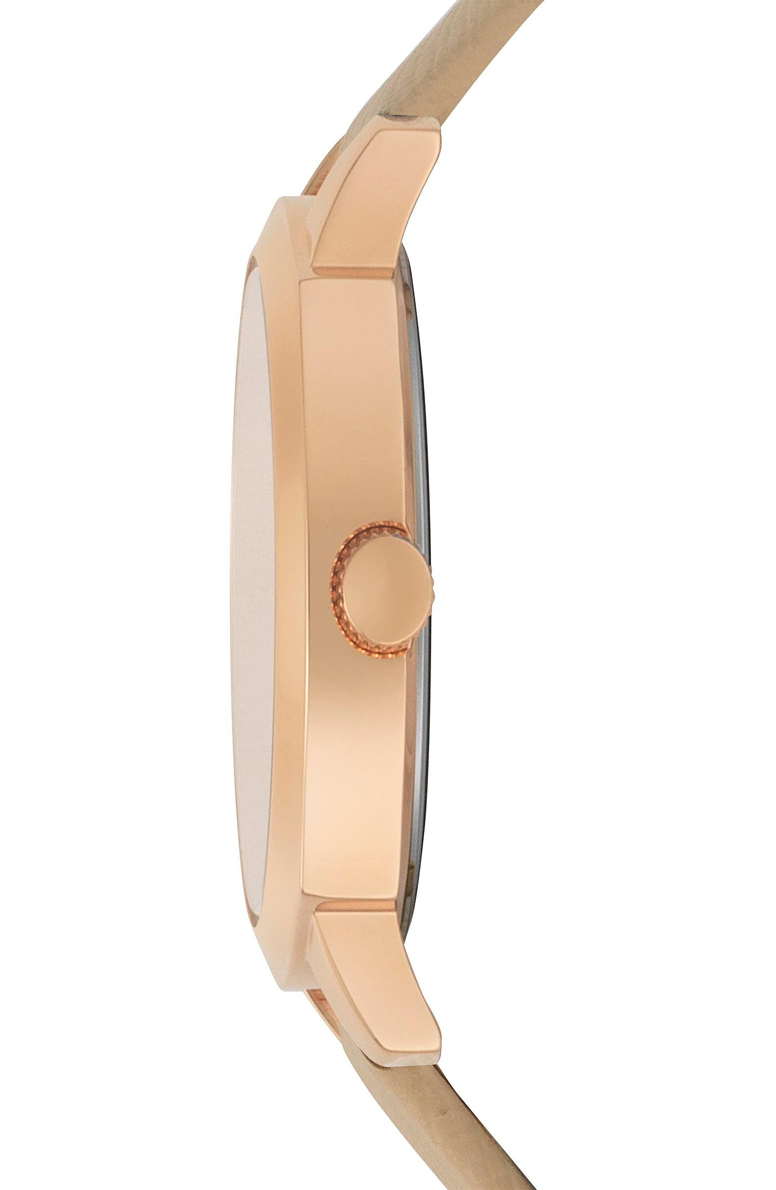 Chelsea Leather Strap Watch, 34mm,                             Alternate thumbnail 2, color,                             TAN/ ROSE GOLD