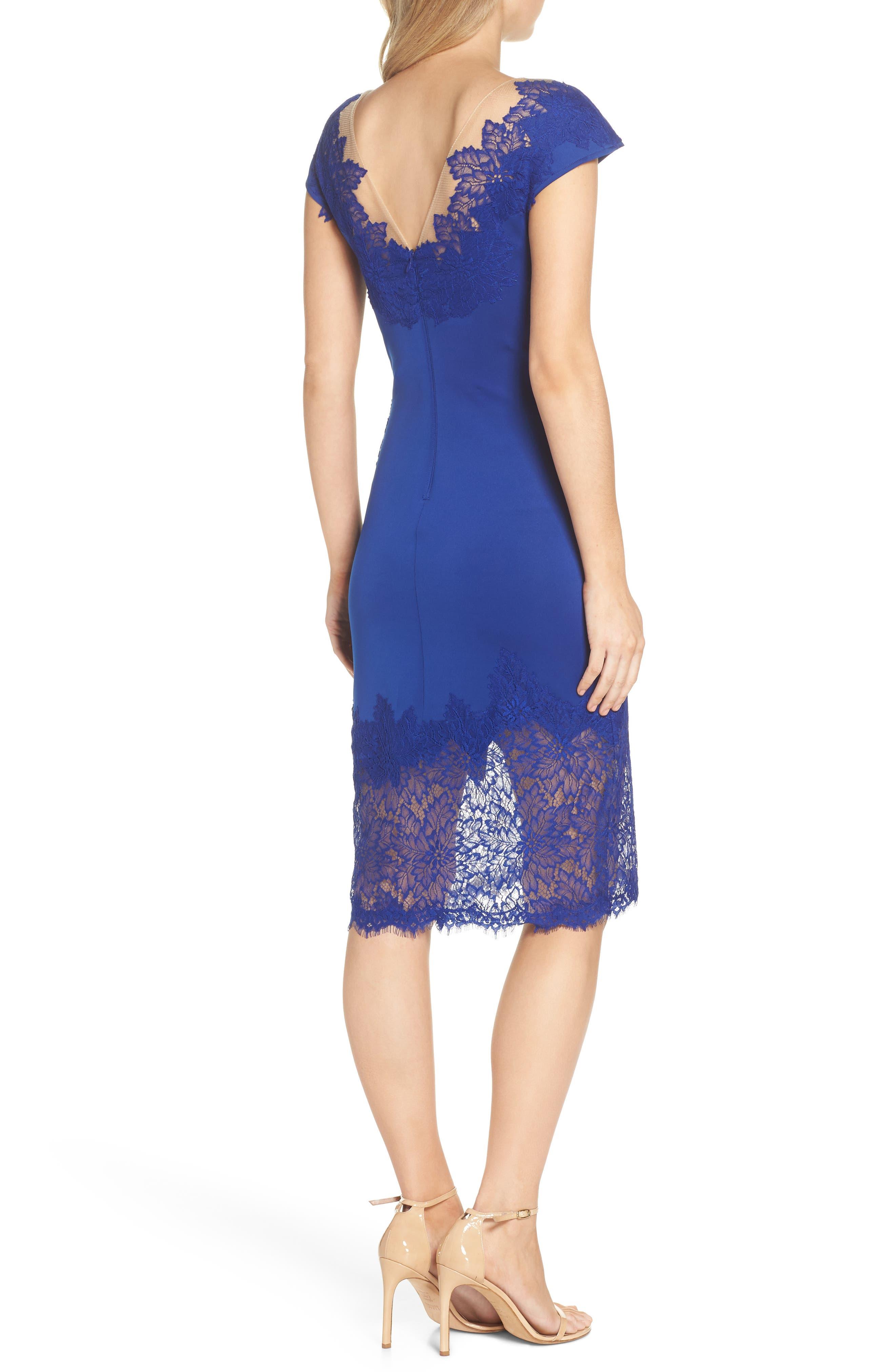 Lace Sheath Dress,                             Alternate thumbnail 2, color,                             LAKE