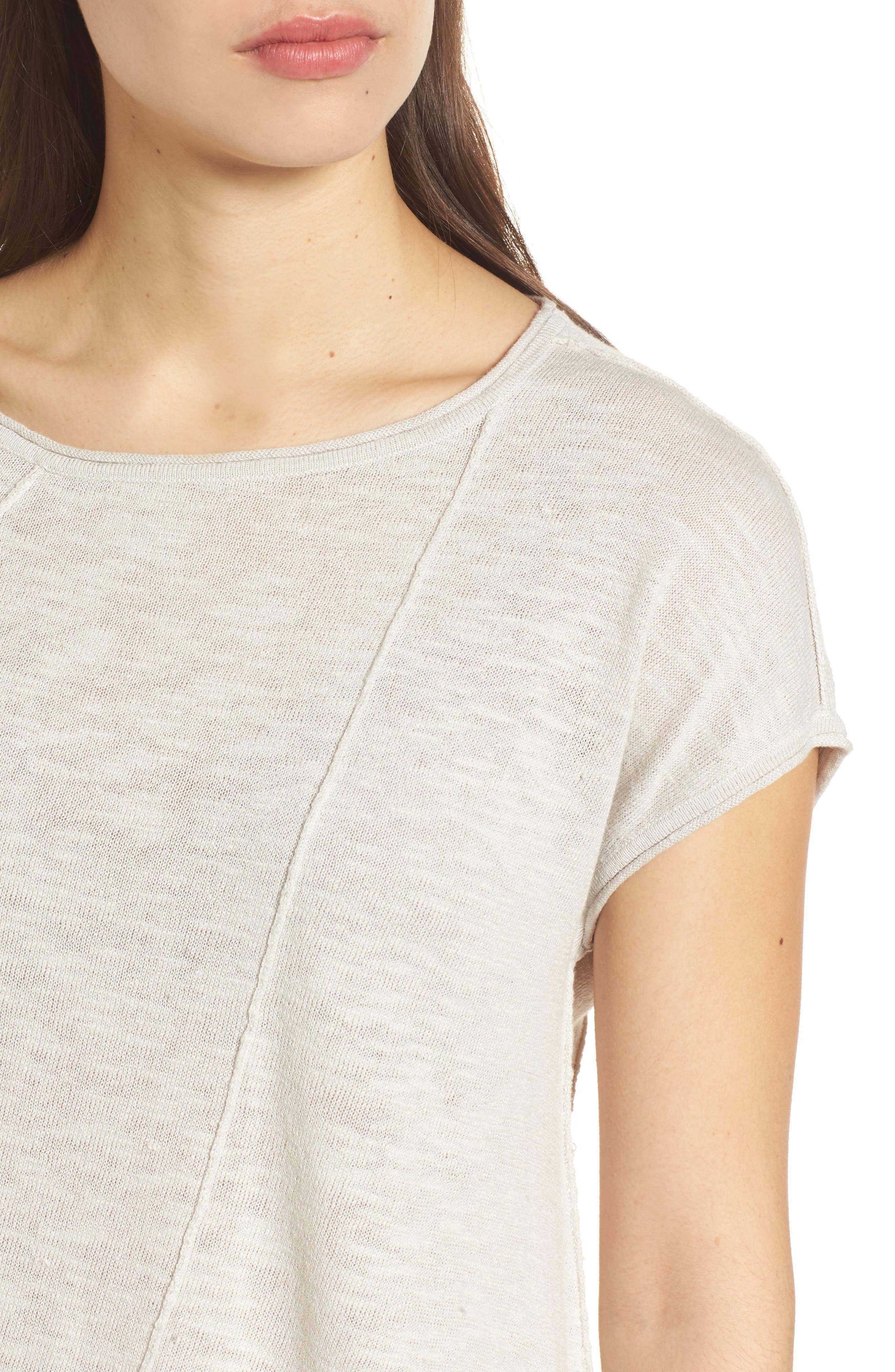 Cap Sleeve Organic Linen & Cotton Scoop Neck Top,                             Alternate thumbnail 57, color,